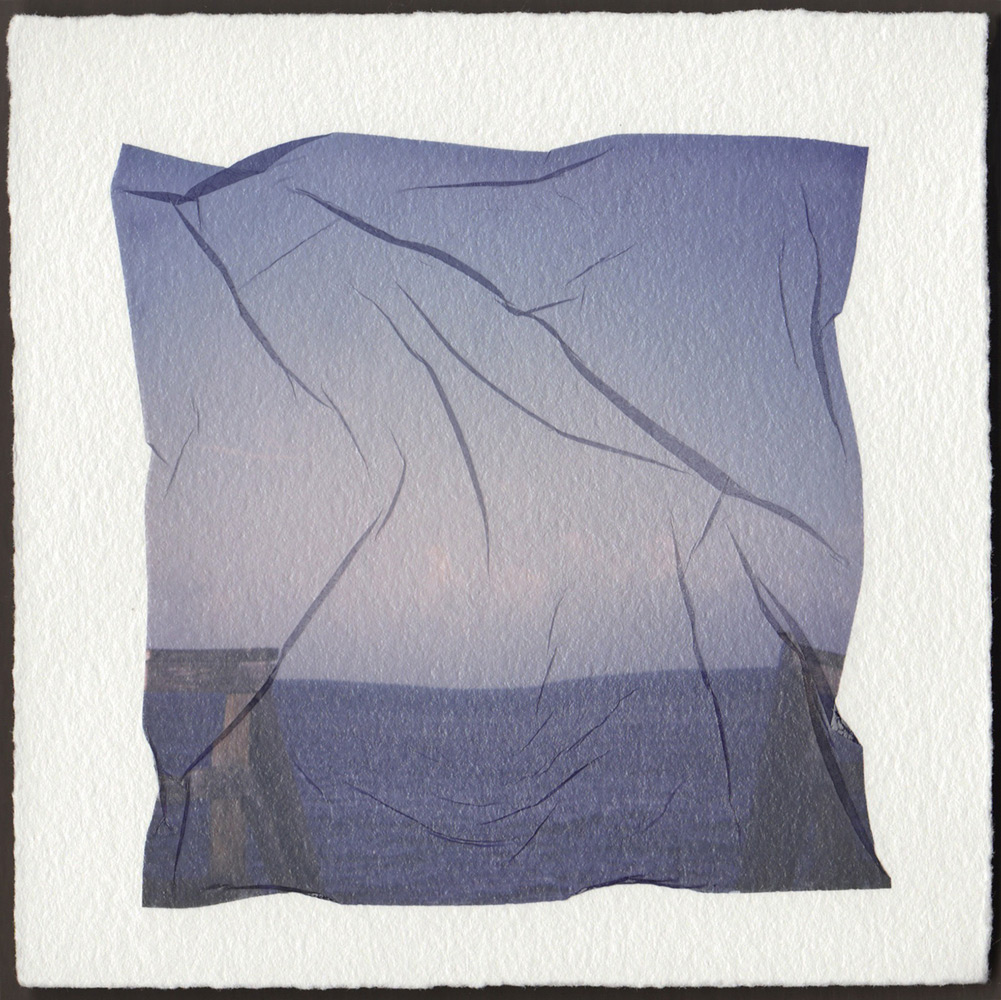 Emma Starr   TO THE BLUE , POLAROID EMULSION LIFT ON ARCHES HUILE, 9 x 9 inches