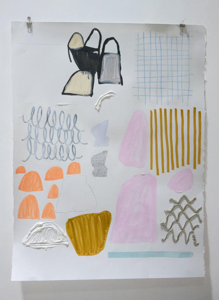 "Hannah Surace   Untitled 3 , Acrylic, Graphite, Marker and Caulk on Paper, 22""x 30"""