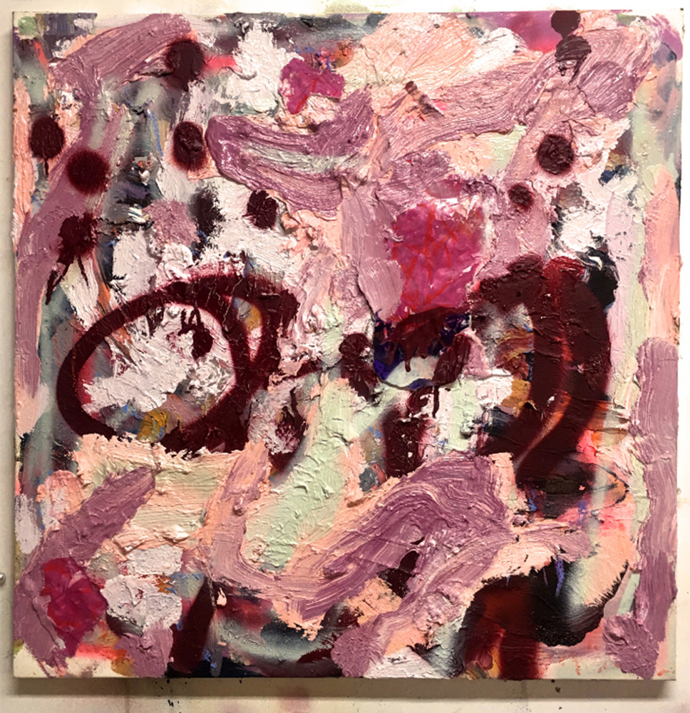 """Rebecca Young   RED ROCK …. 20""""x 20"""" mixed media with paper"""