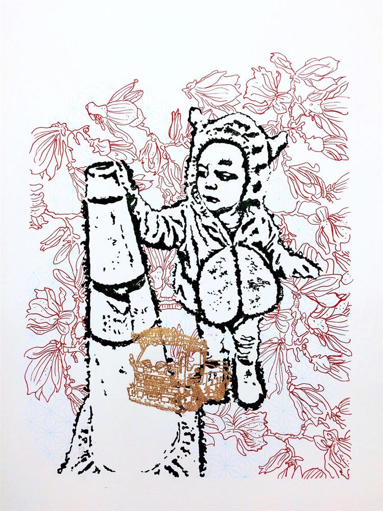 "Valerie Zimany   The Tinker , Silkscreened Ink and Bronze Powder, 18"" x 24"""