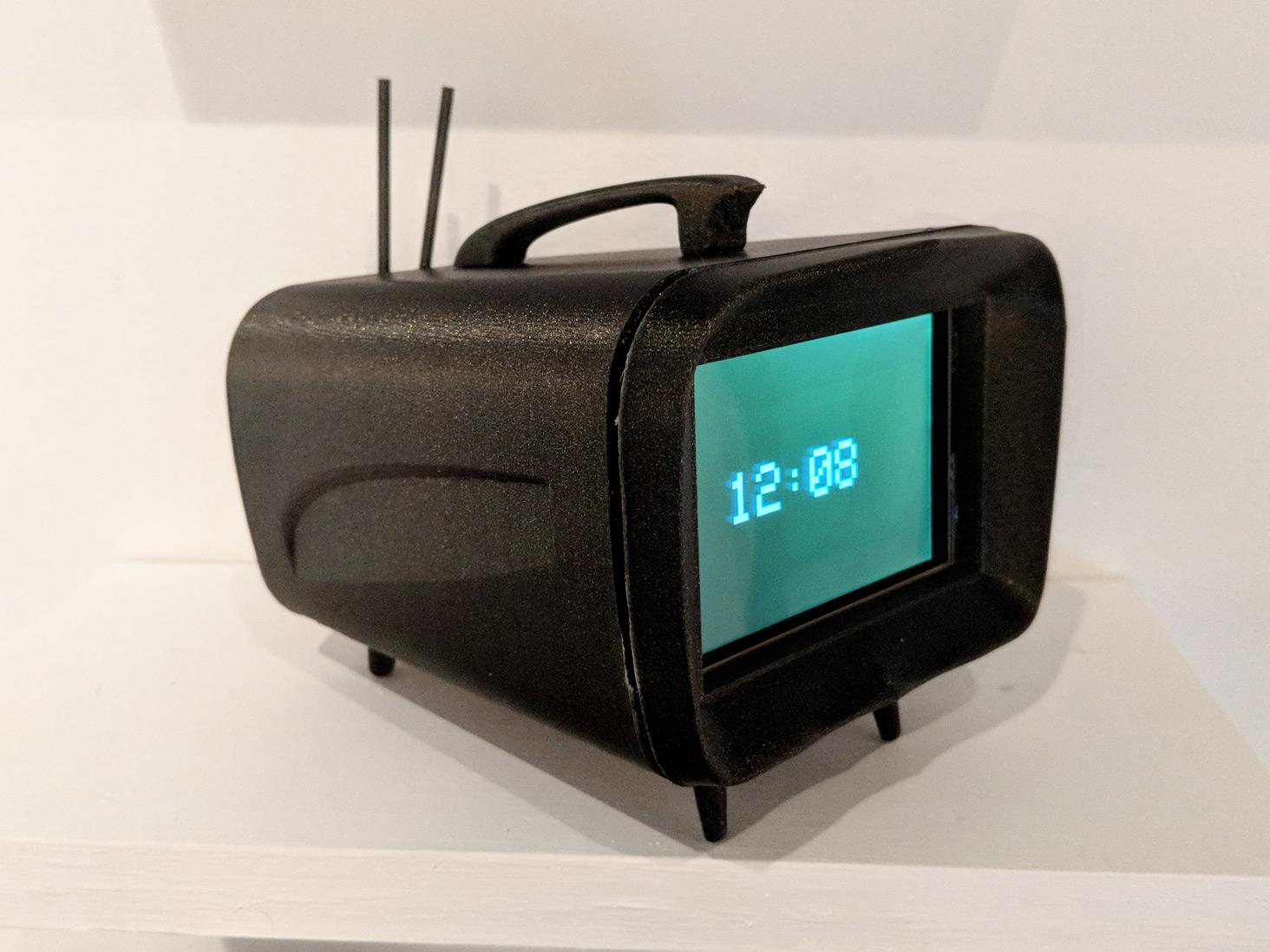 AtlTvHead   Model A AO5 (Black),    3D Printed PLA casing, LCD screen, ESP 32, 5.5 x 5.5 x 5 inches
