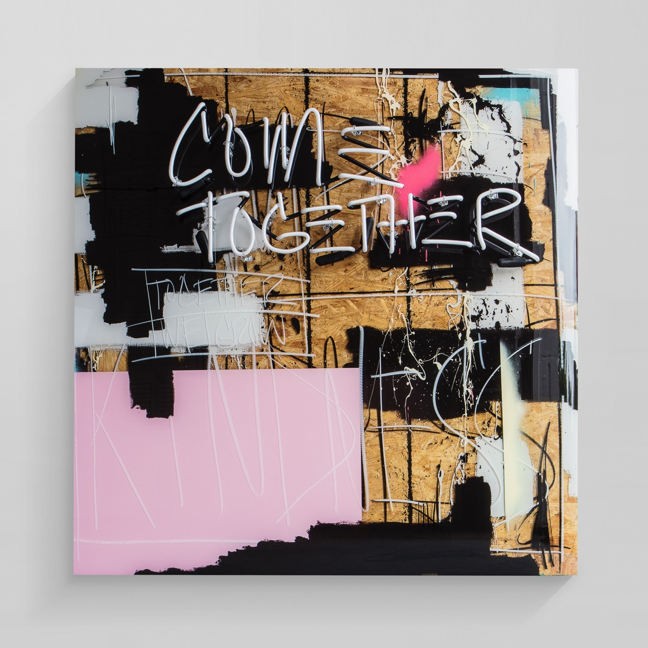 come together  mixed media with layered epoxy resin  48 x 48 inches JBR 147G