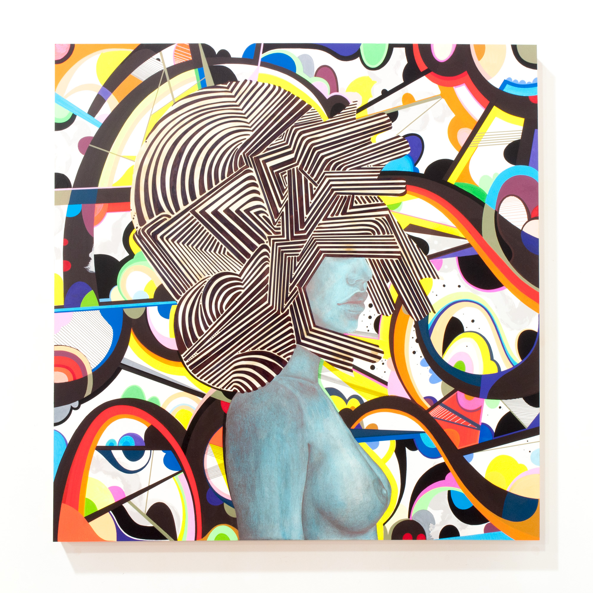 SuperSonic (collab. Lela Brunet) mixed media on wood panel 36 x 36 inches PHA 013G