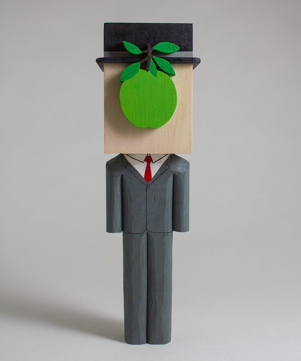 Son of Magritte  wood + acrylic  2.5 x 2.3 x 8.25 inches CSK 033G