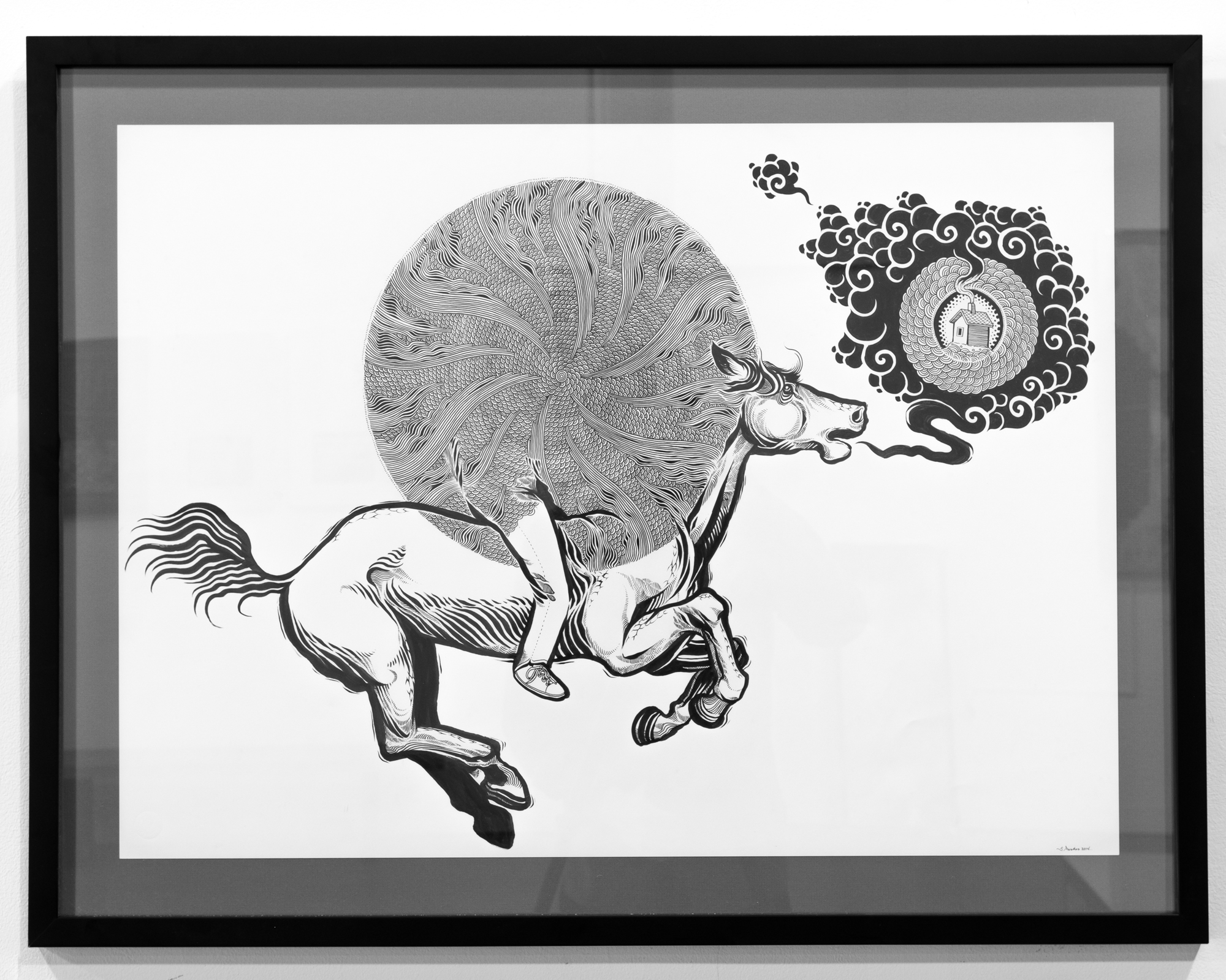Sam Parker  Into the Nearness ink on paper 20 x 30 inches SPA 038G