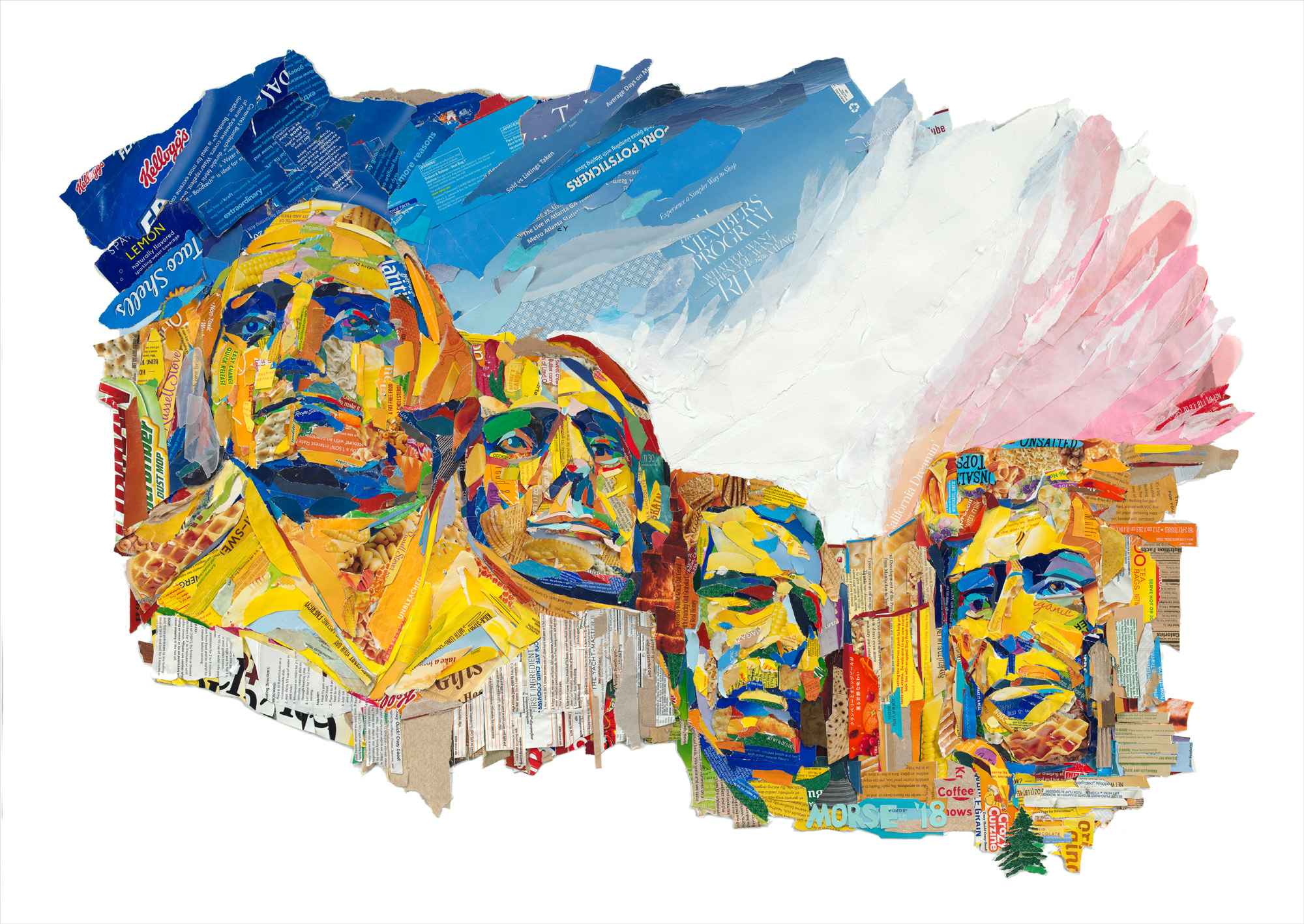 Mt. Rushmore found paper collage, artist proof 34x48 inches JMO 009G