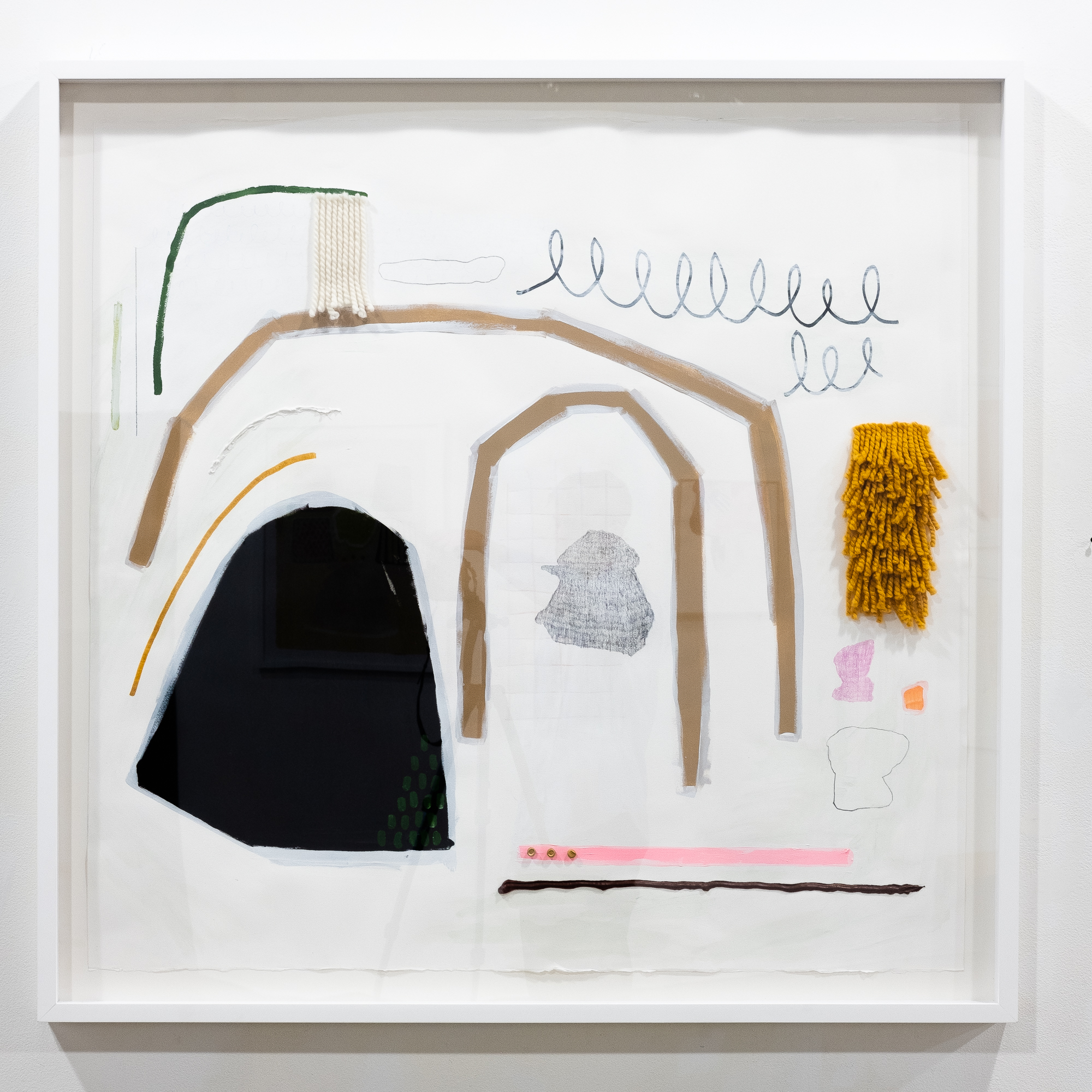 Hannah Surace   Untitled  acrylic, marker, graphite, fiber, caulk, modeling clay on paper 42 x 48 inches HSU 002G