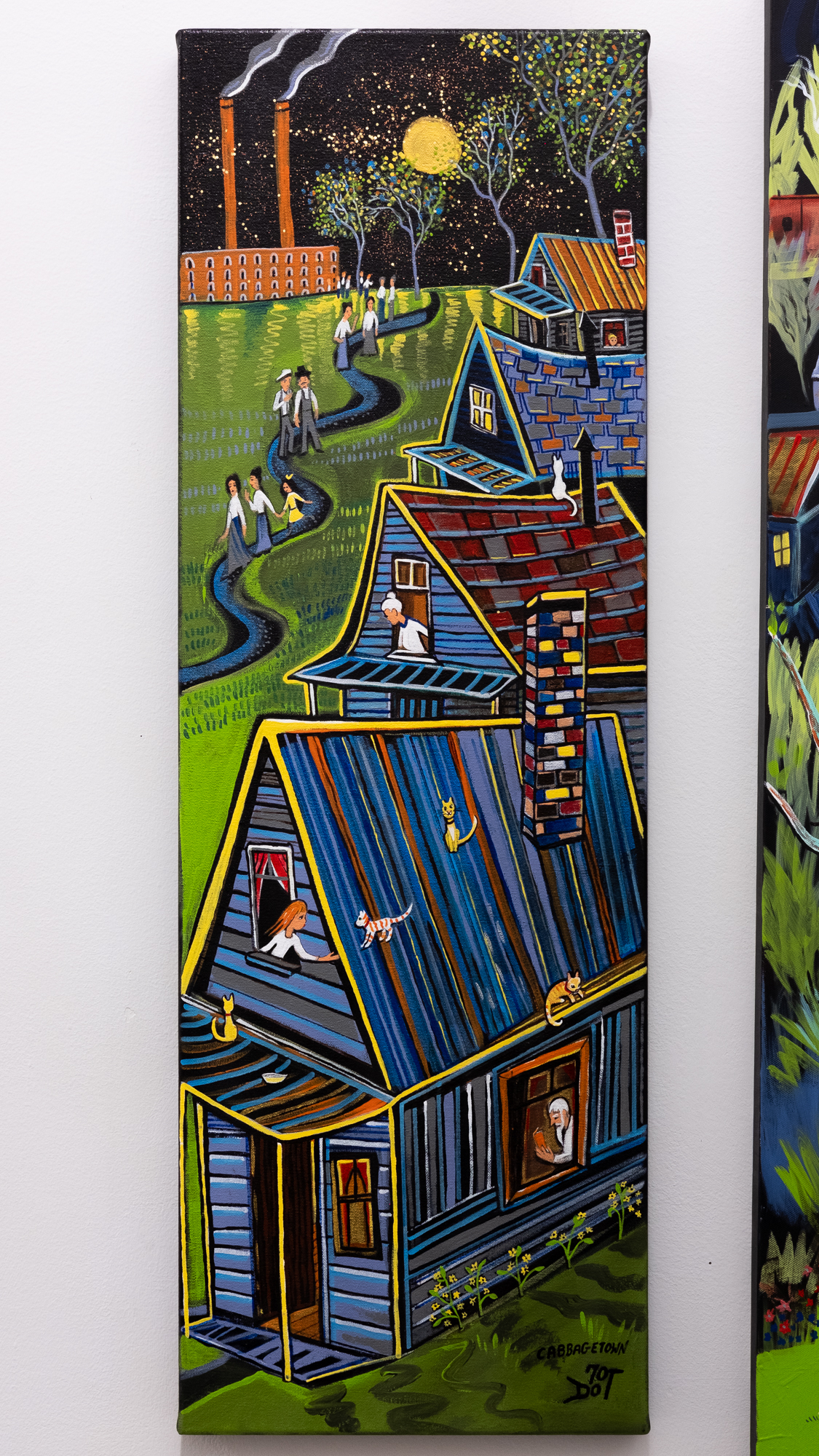70dot  Cabbagetown Supper Time  acrylic on canvas 12 x 36 inches DHO 003G