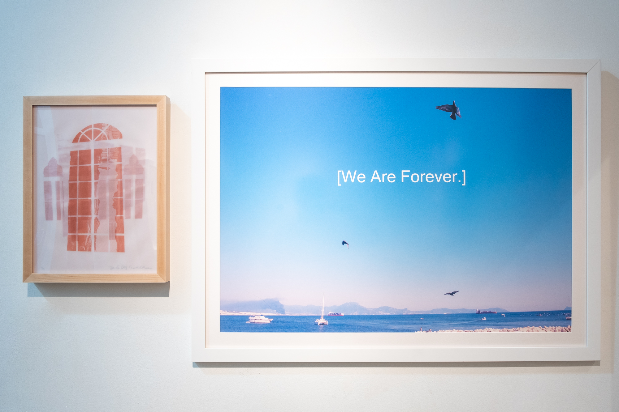 "Cynthia Lollis & Daniela Deeg ""Riflettere I"" Screenprint on 3 translucent papers 17 x 13 inches CLO 001G   Stephen Philms ""We Are Forever""photograph 28.25 x 38.25 inches STP 004G"