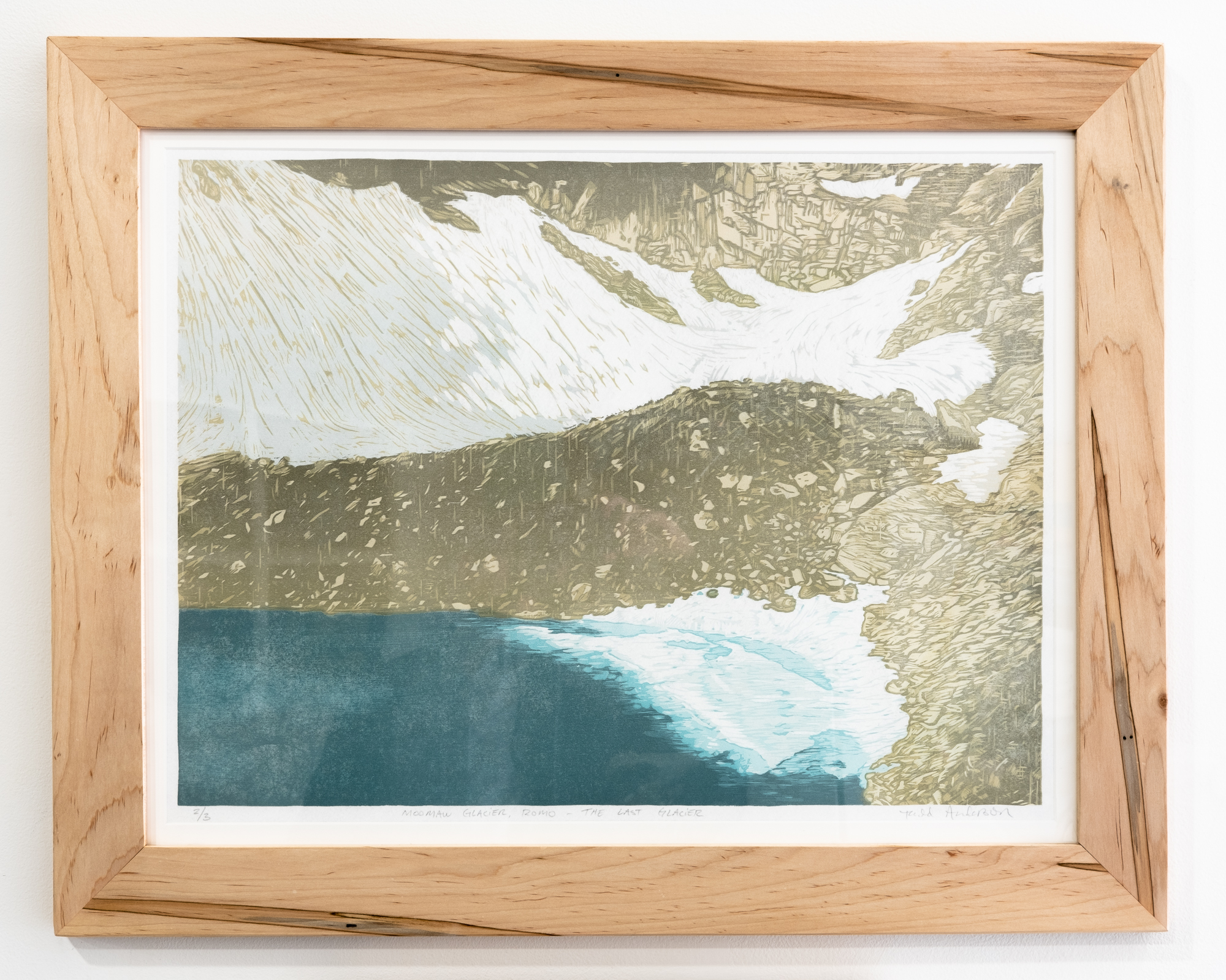 "Todd Anderson ""Moomaw Glacier at Rocky Mountain National Park"" Photopolymer gravure on European rag paper 11 x 15 inches 1/9 TAN 030G"