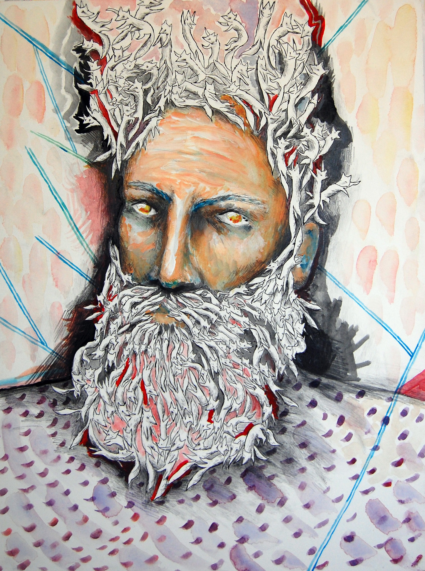 "Brad Johnston ""Foxbeard"" Mixed media on paper mounted on panel 18 x 24 inches BJO 018G"