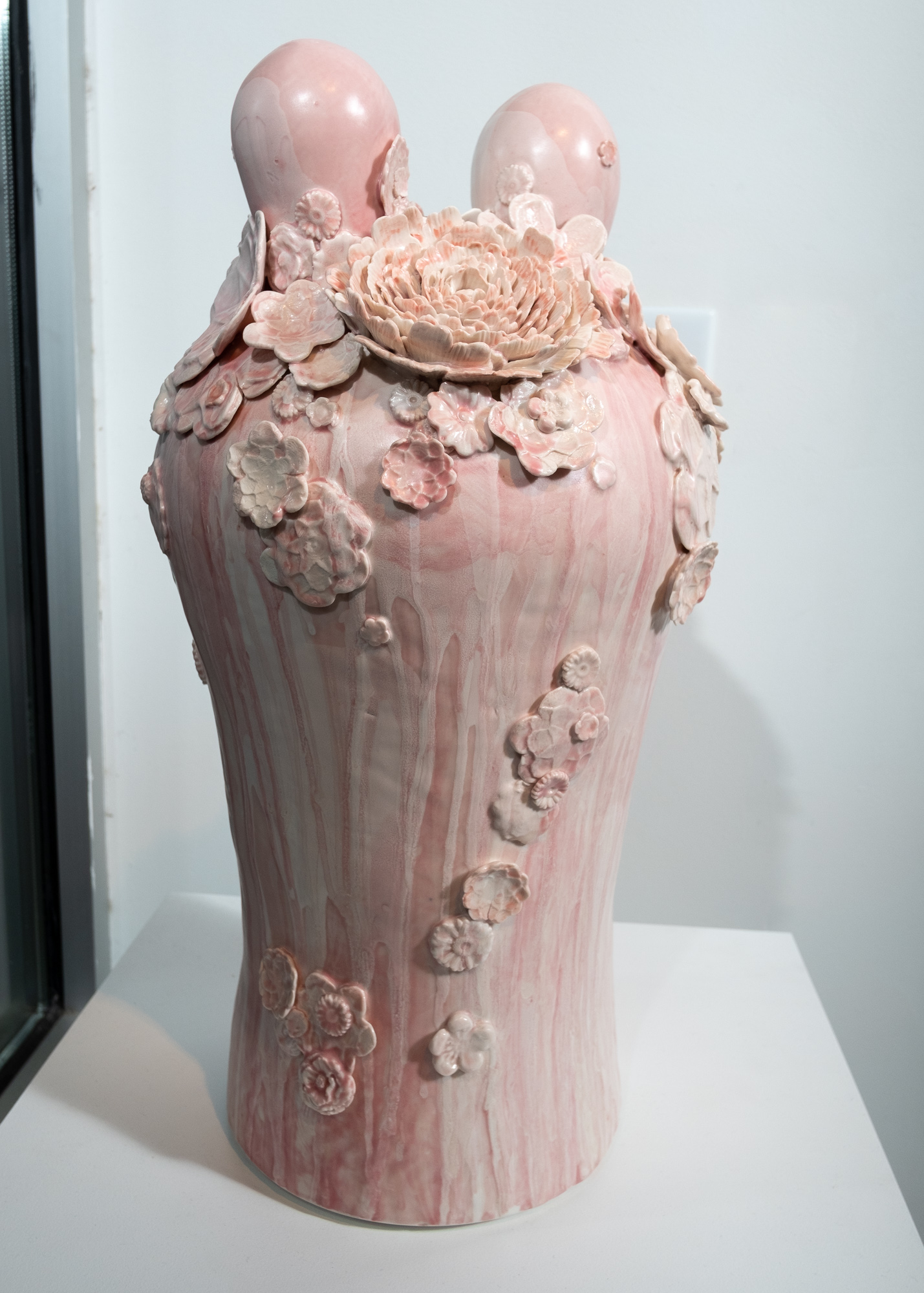 Hanazume (Packed Florals) with Two Ears   Wheel-thrown and handbuilt porcelain with press-molded sprigs from three-dimensional model prints and hand-modelled florals, glaze  21 x 11 x 11 inches VZI 008G