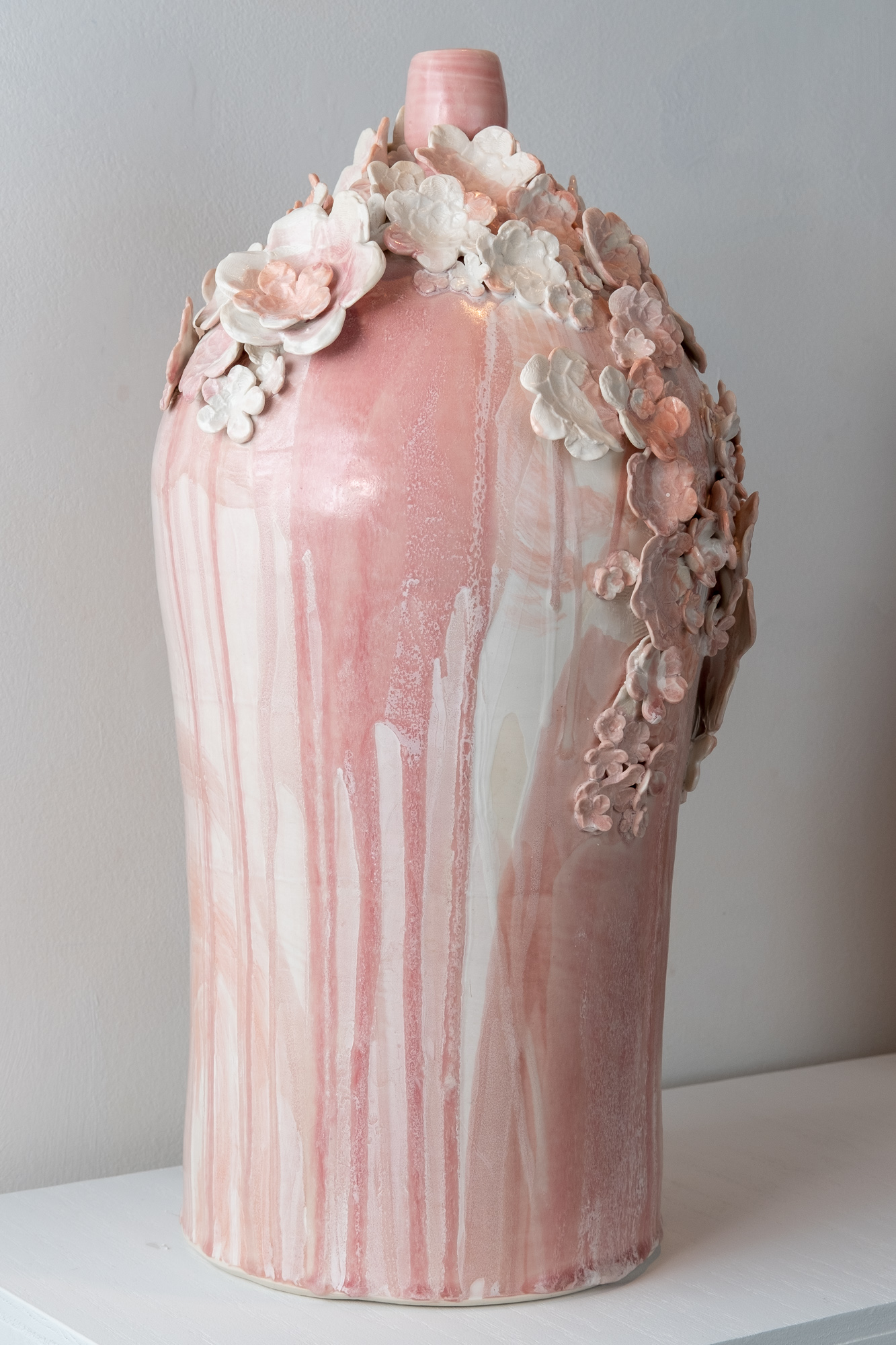 Hanazume (Packed Florals) Vase II   Wheel-thrown and handbuilt porcelain with press-molded sprigs from three-dimensional model prints, glaze  21 x 11 x 11 inches VZI 004G