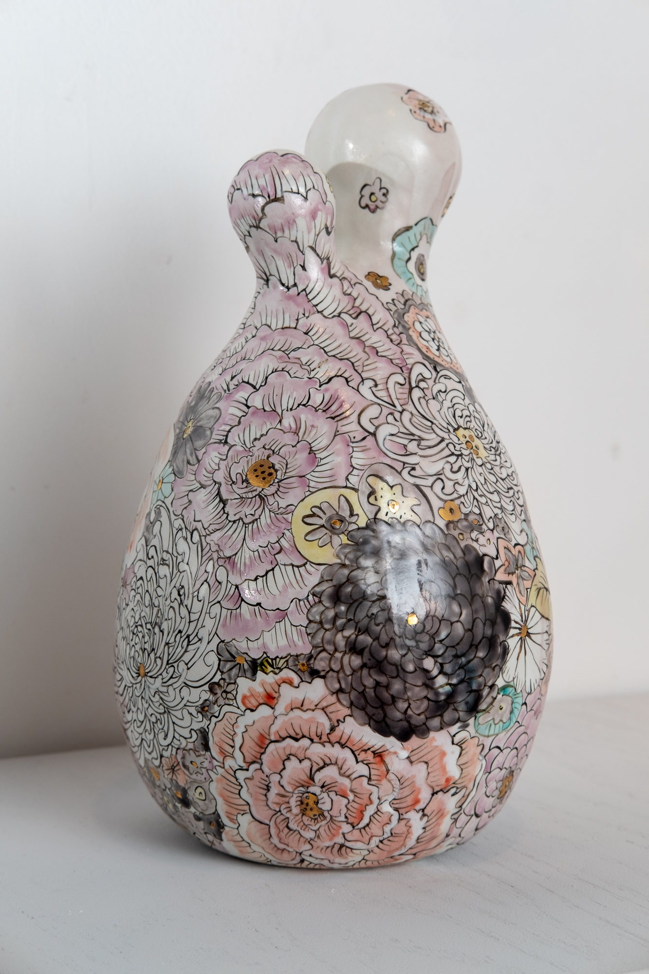Hana-tsukushi (All the Flowers)   Handbuilt porcelain, glaze, overglaze drawing, raised Kutani enamels, gold  12 x 6 x 6 inches VZI 011G