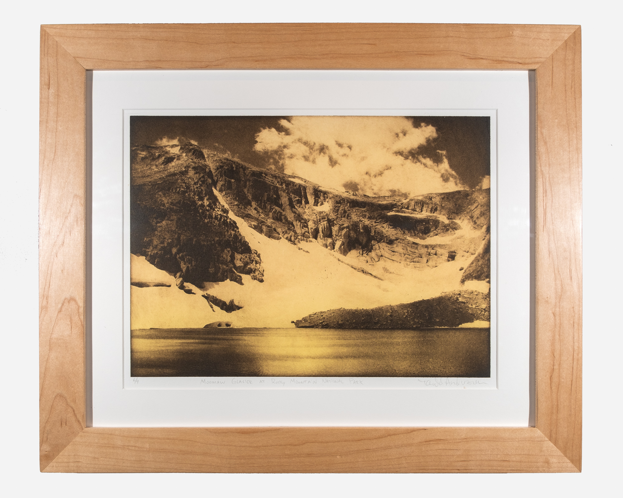 Moomaw Glacier at Rocky Mountain National Park   Photopolymer gravure on European rag paper   11 x 15 inches TAN 030G