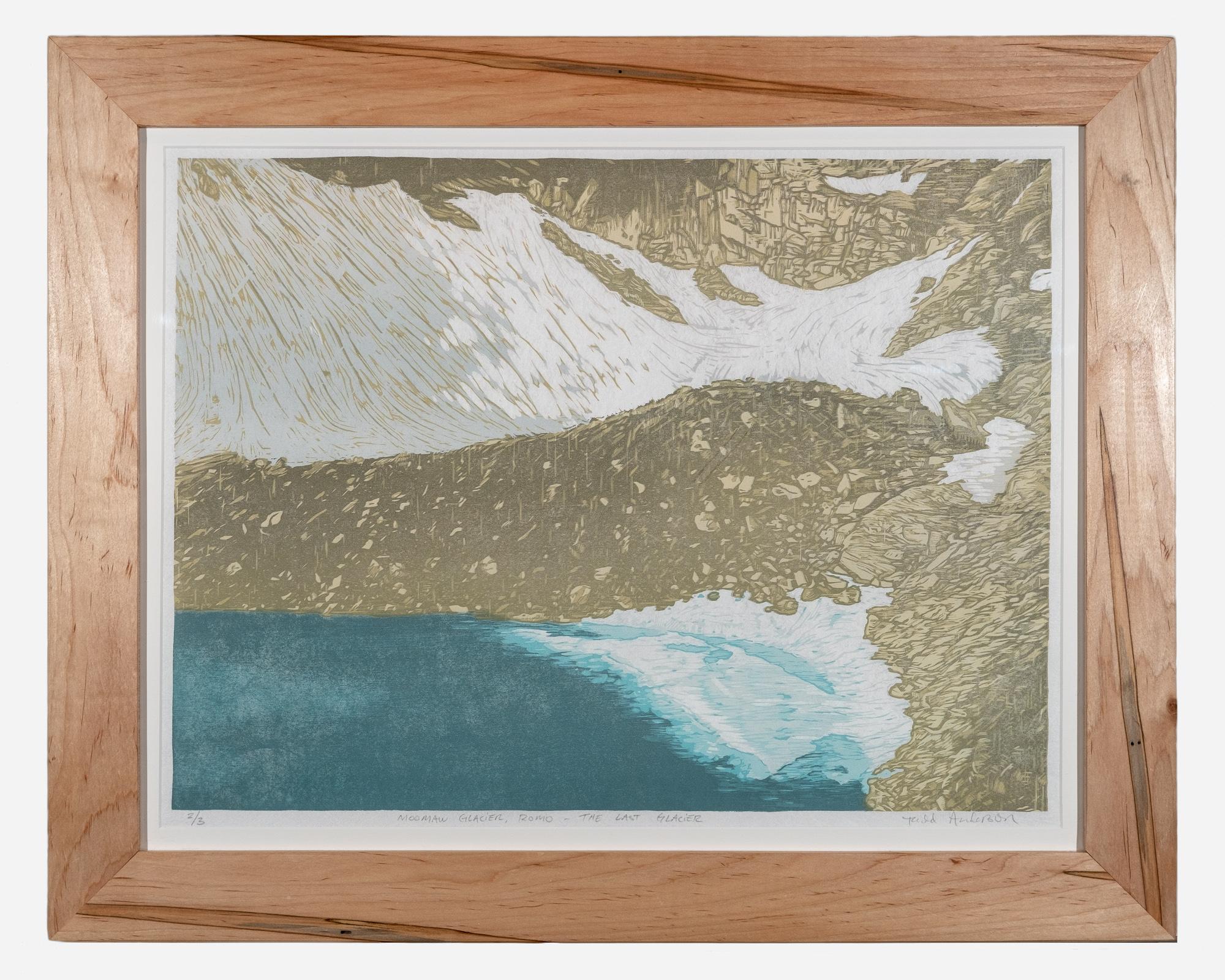 Moomaw Glacier    Framed woodcut print on Okawara Washi paper   30 x 24 inches TAN 040G