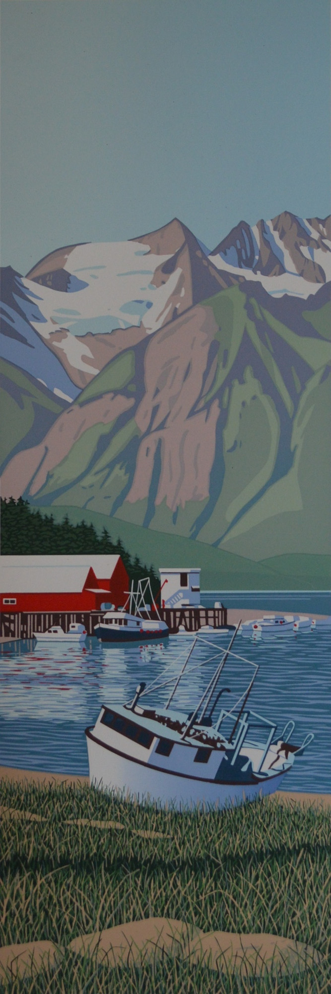 Donna Catotti   Waiting for the Tide - Alaska  serigraph 18 x 6 inches, APS 207G