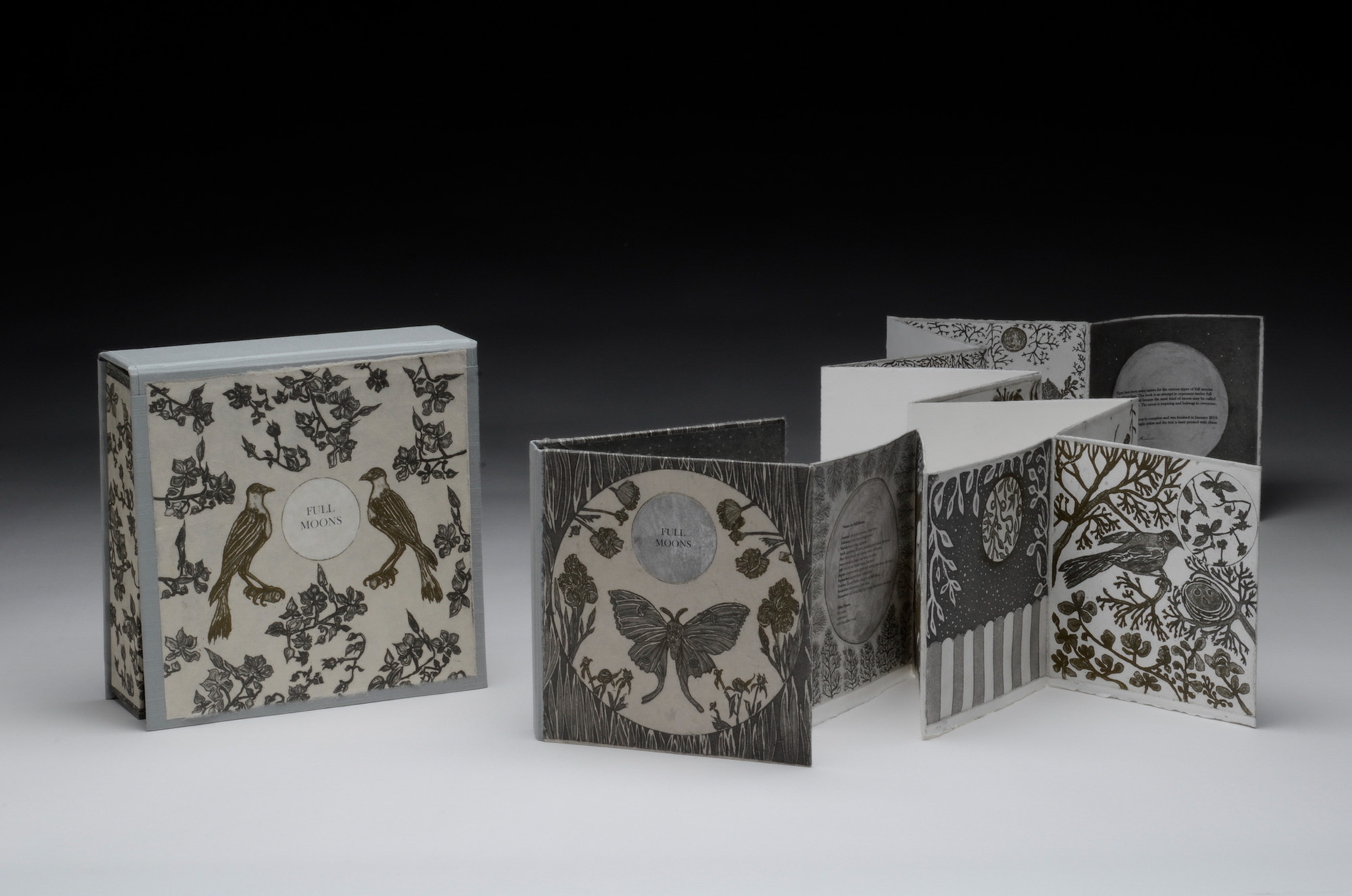 Sarojini Johnson   Many Moons  Artist's Book Intaglio & digital type 8 x 8 x 2 inches, APS 222G