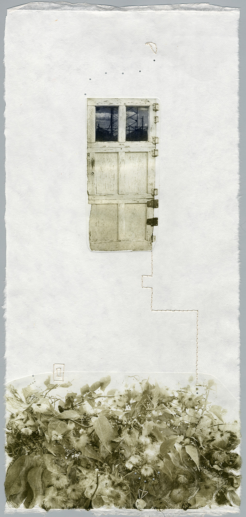 Rhea Nowak    Sanctuary  Intaglio, stitching, perforations 22.2 x 10.5 inches, APS 240G