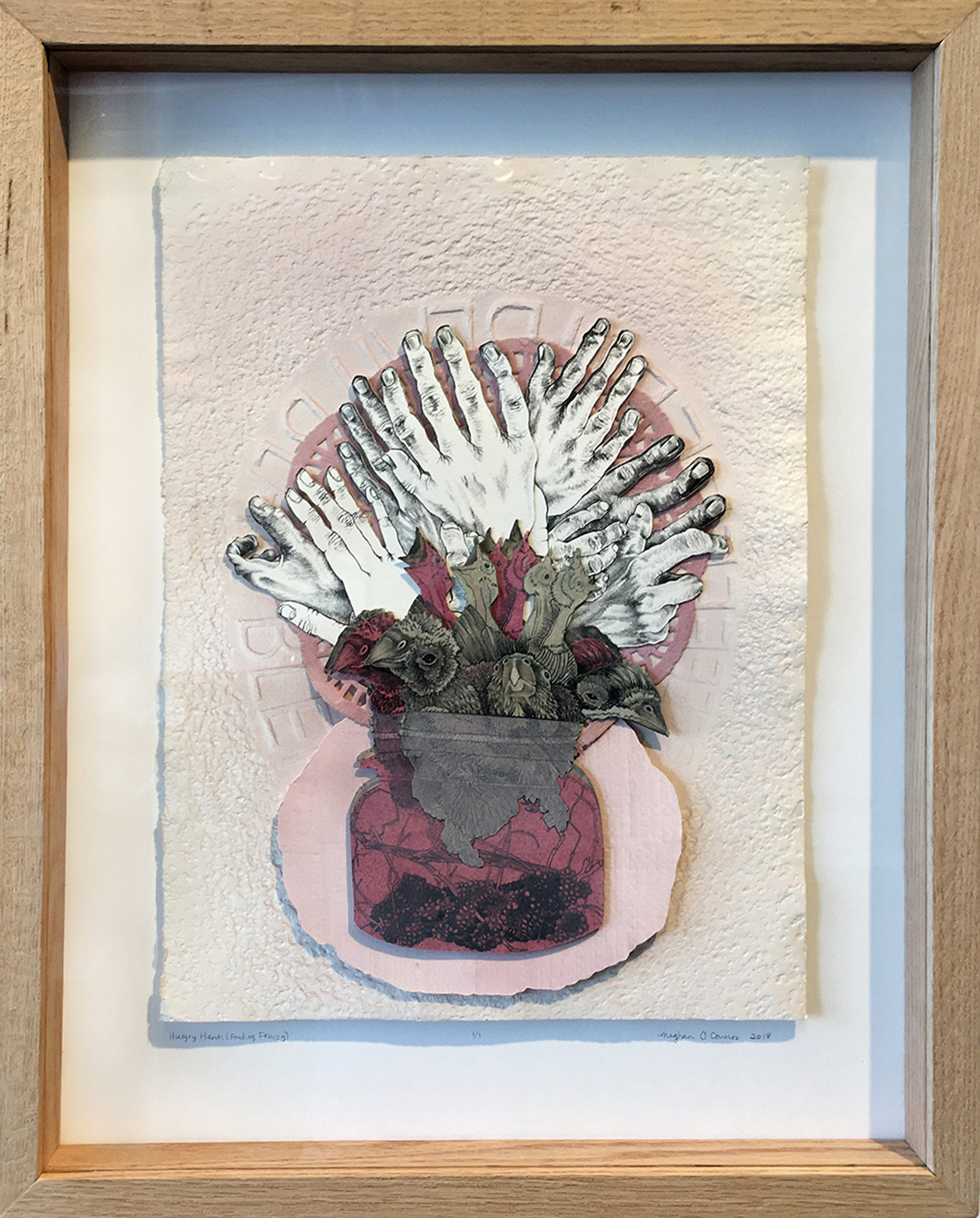 Meghan OConnor    Hungry Hands (Feeding Frenzy)  collaged lithograph & collagraph, wax, colored pencil 20 x 18 inches, APS 241G