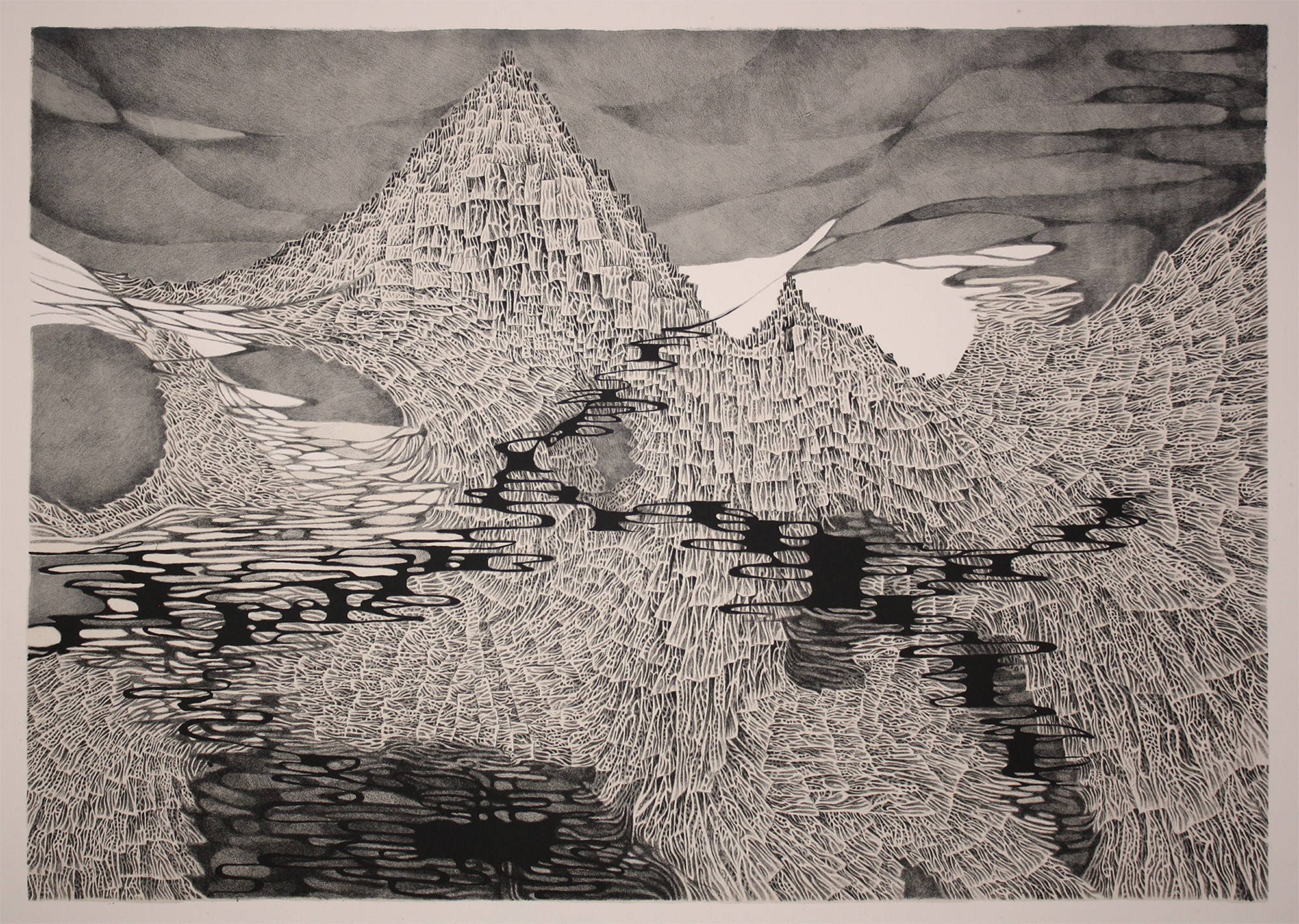 Meredith Setser    Basalt  lithography and screen print 25 x 36 inches, APS 250G