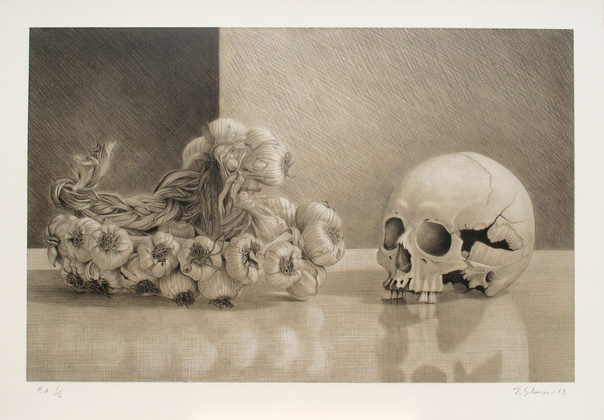 Edgar Soberon   Skull with Garland  Lithograph 17.5 x 27 inches, APS 254G