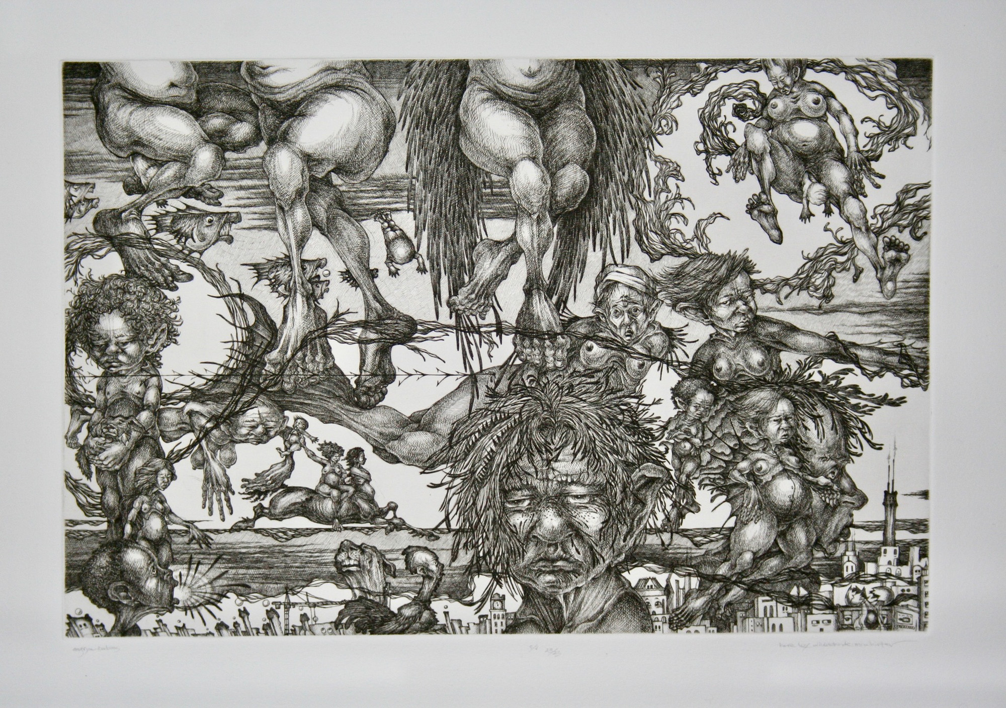 Kore Loy Wildrekinde-Mcwhirter   Angrye Babies Line  etching 22 x 30 inches, APS 264G