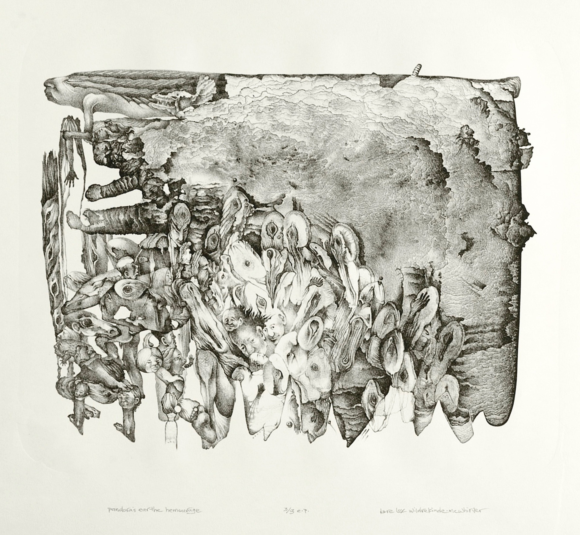 Kore Loy Wildrekinde-Mcwhirter    Pandora's Earthe Hemorrhage  stone lithograph 15 x 20 inches, APS 265G