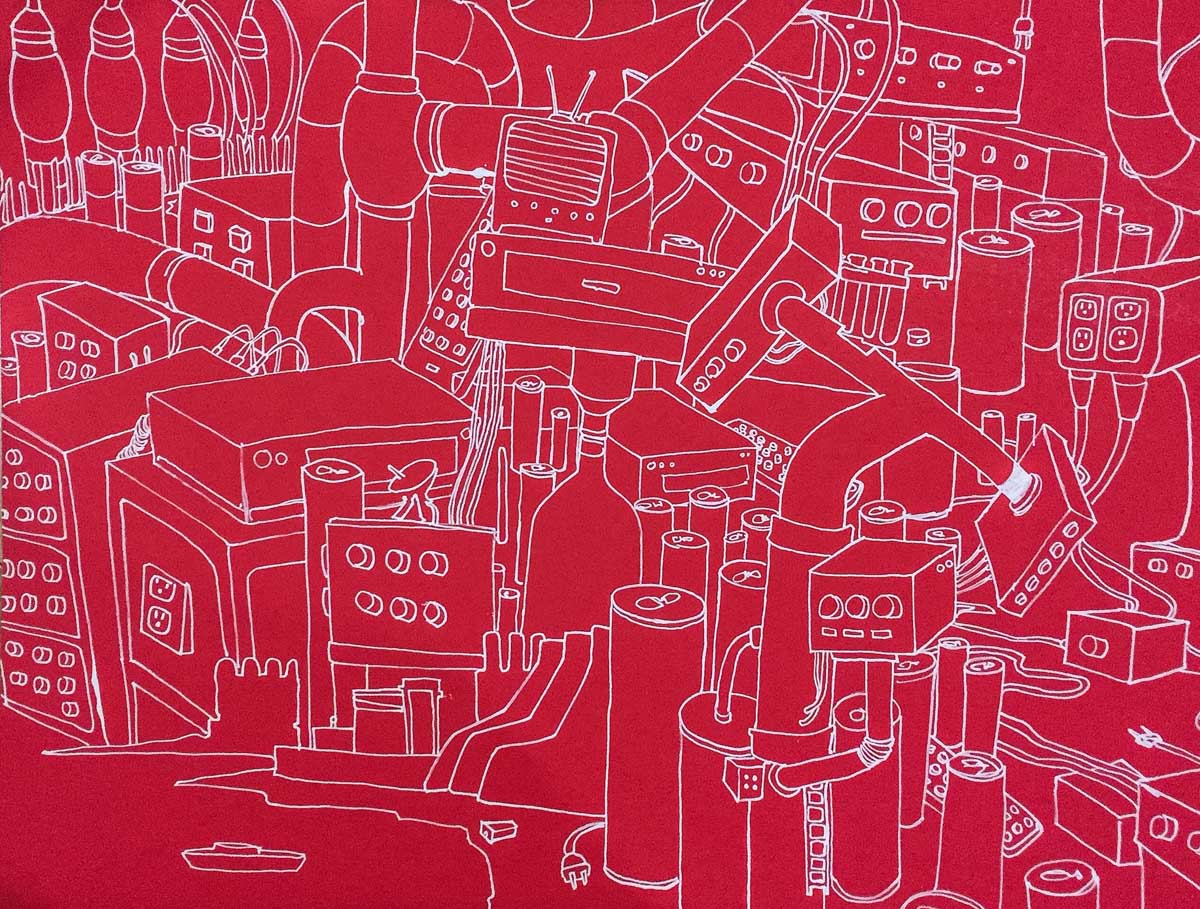 Andrew Muñoz Red State acrylic and marker on red paper 22 x 28 inches AMU 001G.jpg