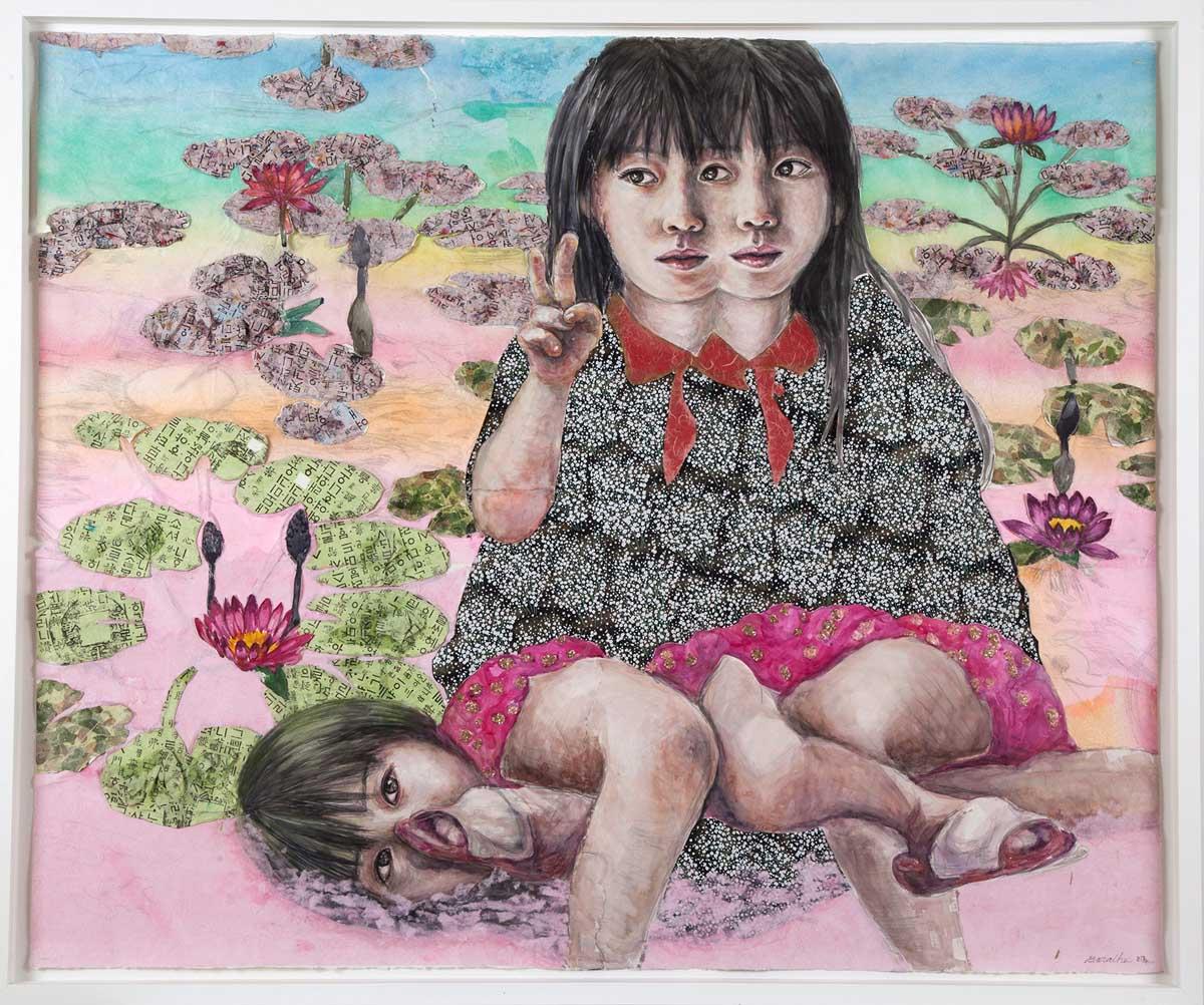 Bora Choi Nepowada Lotus and Girls Dream mixed media 46.5 x 55.5 inches BNE 003G.jpg
