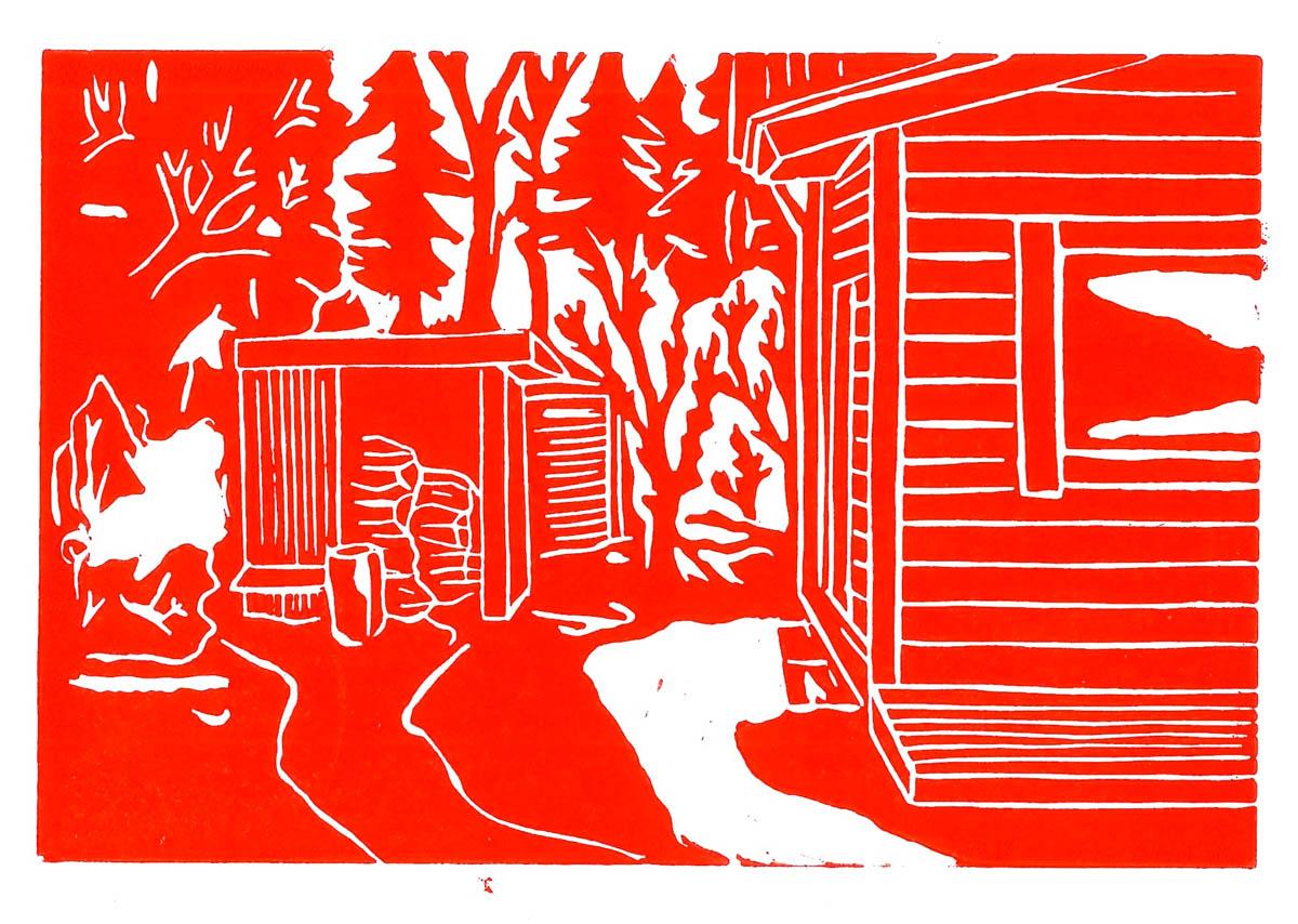 Christoph Nowak Backyard Lafayette, LA August 2015 - Red linocut 4.1 x 6.1 inches CNO 003G.jpg