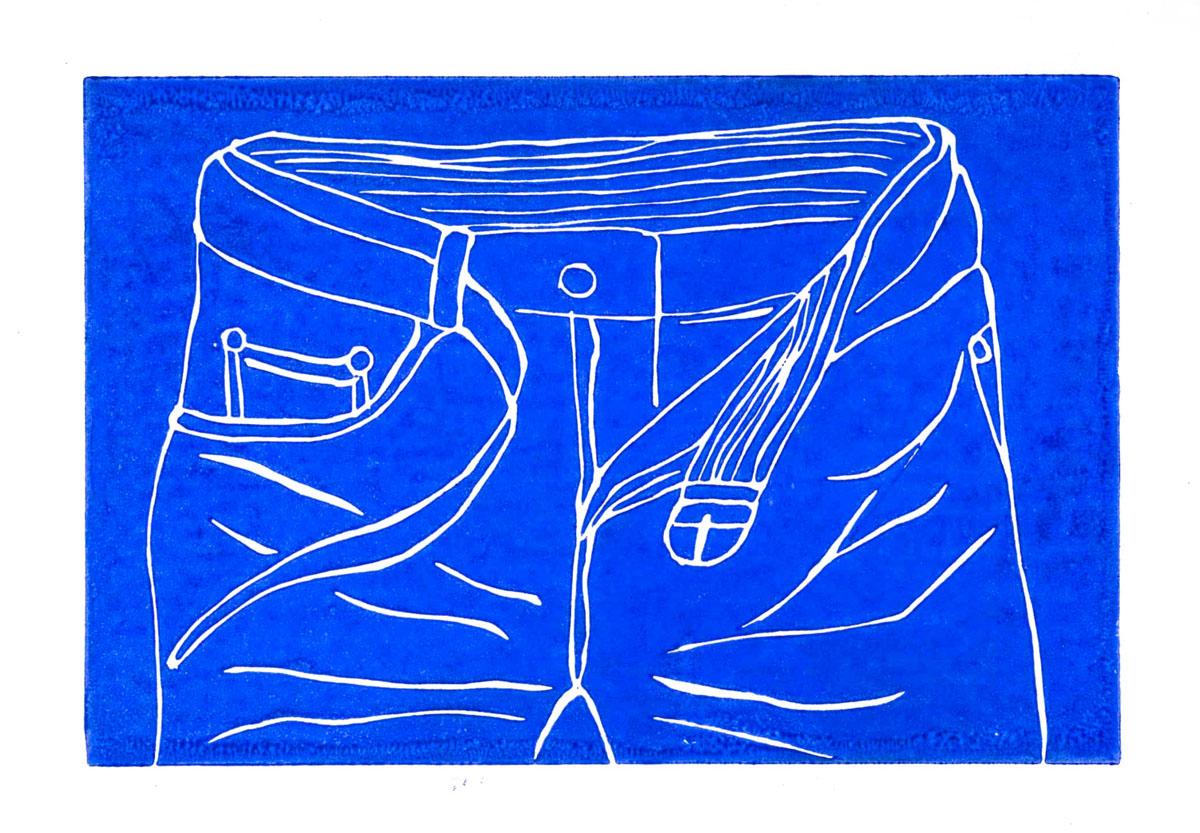 Christoph Nowak Blue Jeans linocut 4.1 x 6.1 inches CNO 004G.jpg