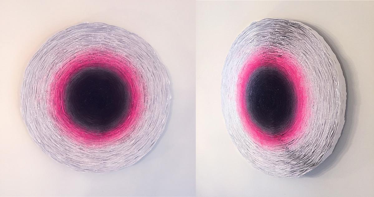 Tom Shutt Dogwood 2695 mixed paper, aerosol, acrylic paint 29 diameter inches TSU 002G.jpg