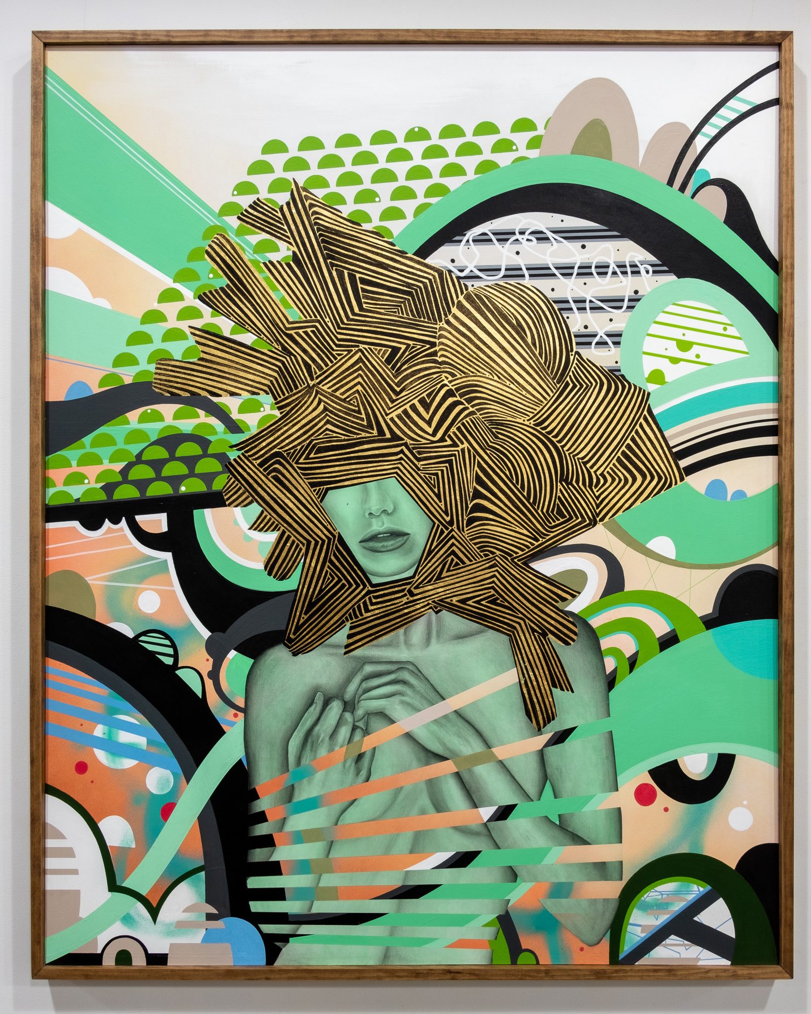 Lela Brunet and Phil Harris  The Flip Side  mixed media on wood panel  72 x 48 inches LBR 072G