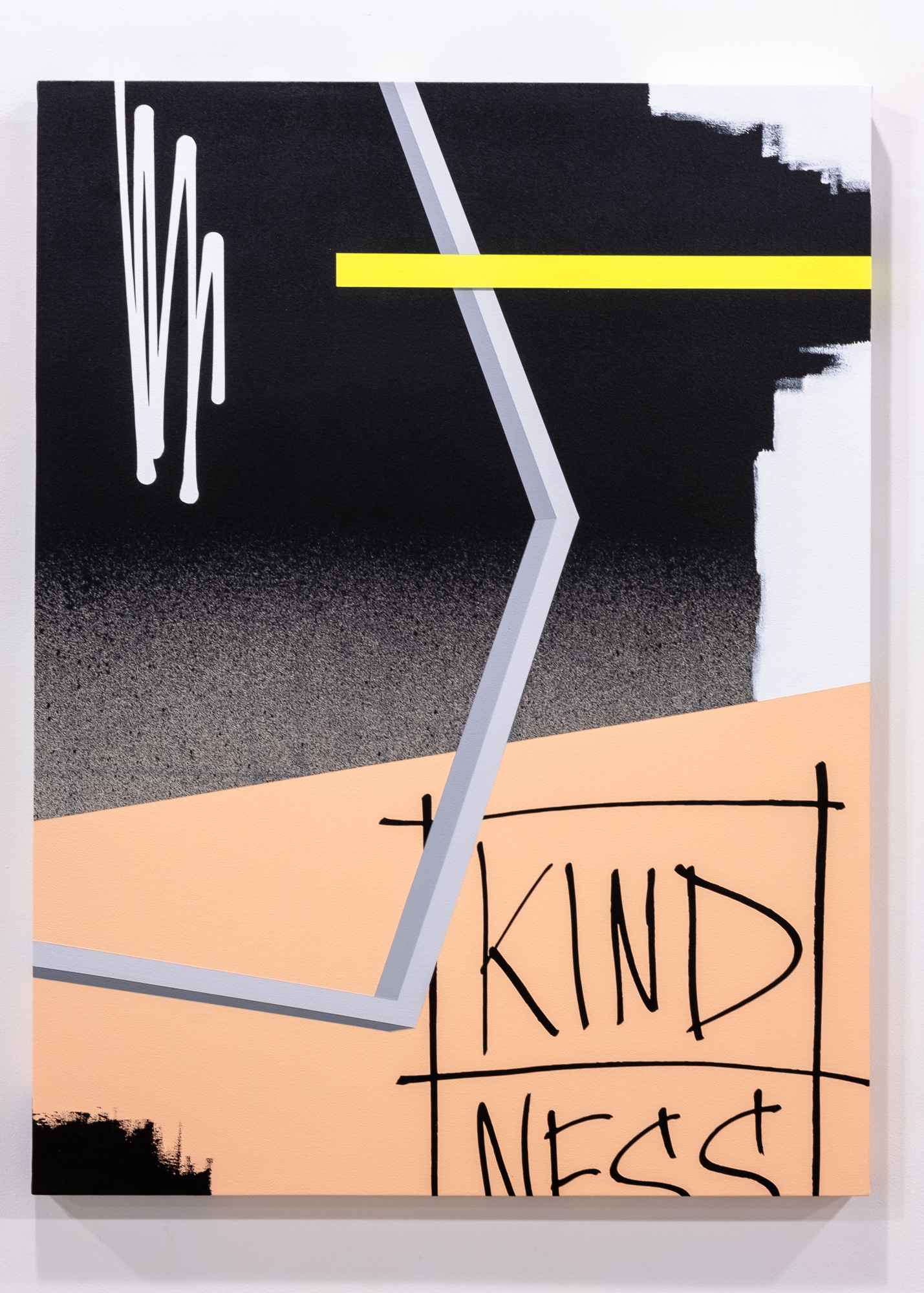 Jeremy Brown & Adam Podber  Kindness  acrylic, aerosol, and ink on canvas  36 x 48 inches JBR 154G
