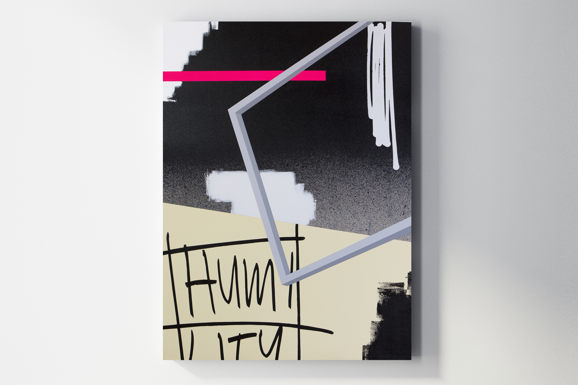 Jeremy Brown & Adam Podber  Humility  acrylic, aerosol, and ink on canvas  36 x 48 inches JBR 152G
