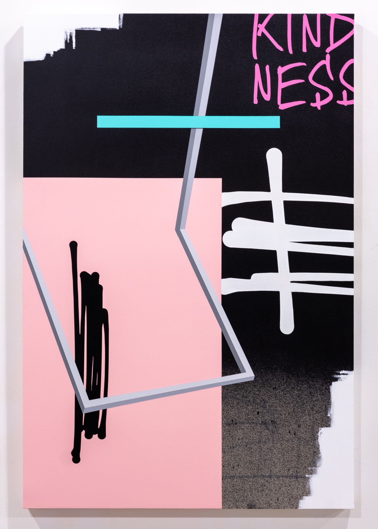 Jeremy Brown & Adam Podber  One Word  acrylic, aerosol, and ink on canvas  40 x 60 inches JBR 153G