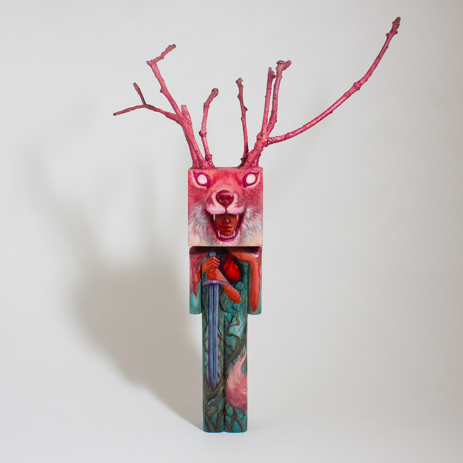 Blockhead & Amy Ashbaugh   Forest Guardian   basswood, twigs, acrylic, epoxy putty 11 x 5 x 15 inches CSK 060G