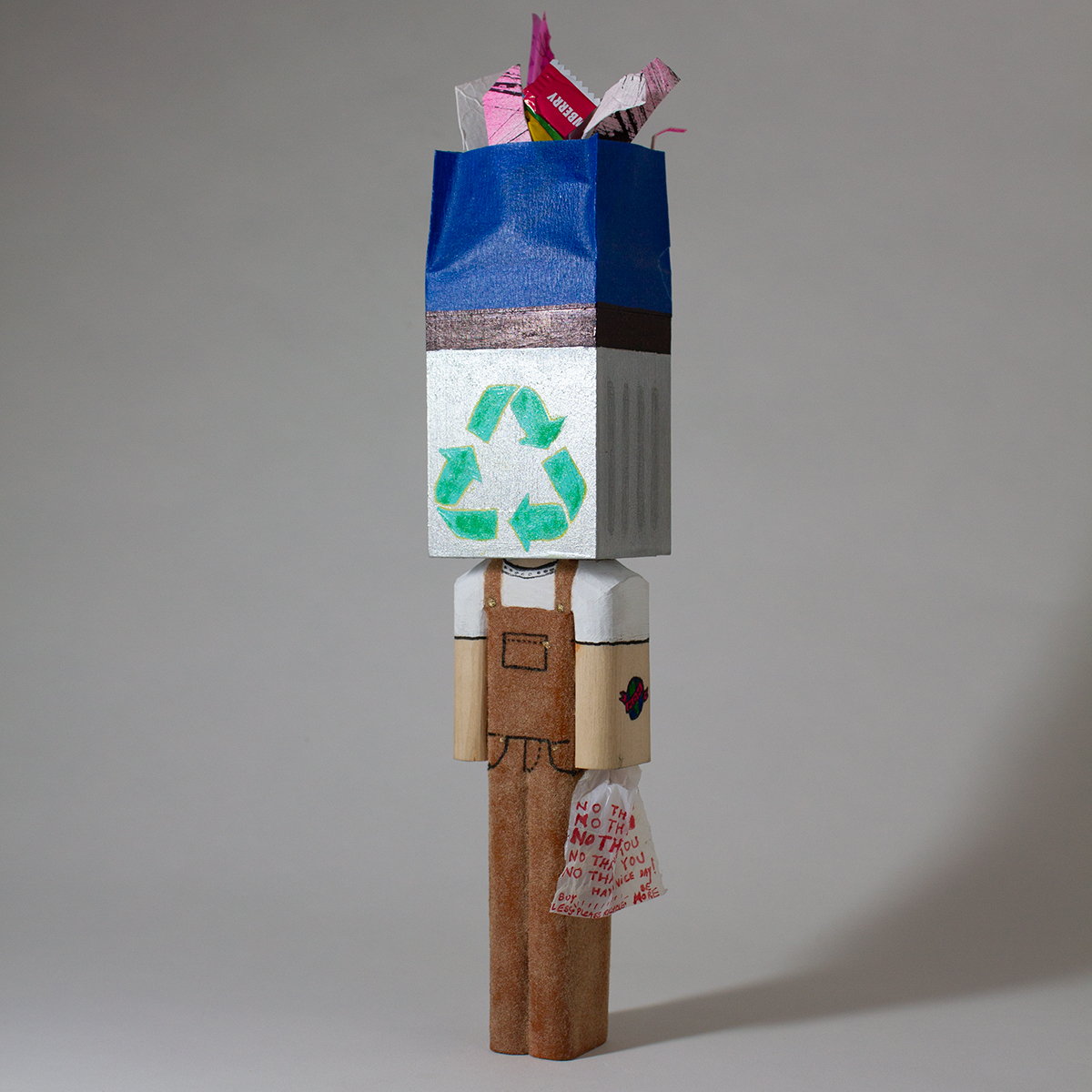 Eco Blockhead (collab with Jack Michael) - gouache, sharpie, velour flock, acrylic, tape, recycled paper, trash - 2.25_x1.8_x12_ - $350.jpg