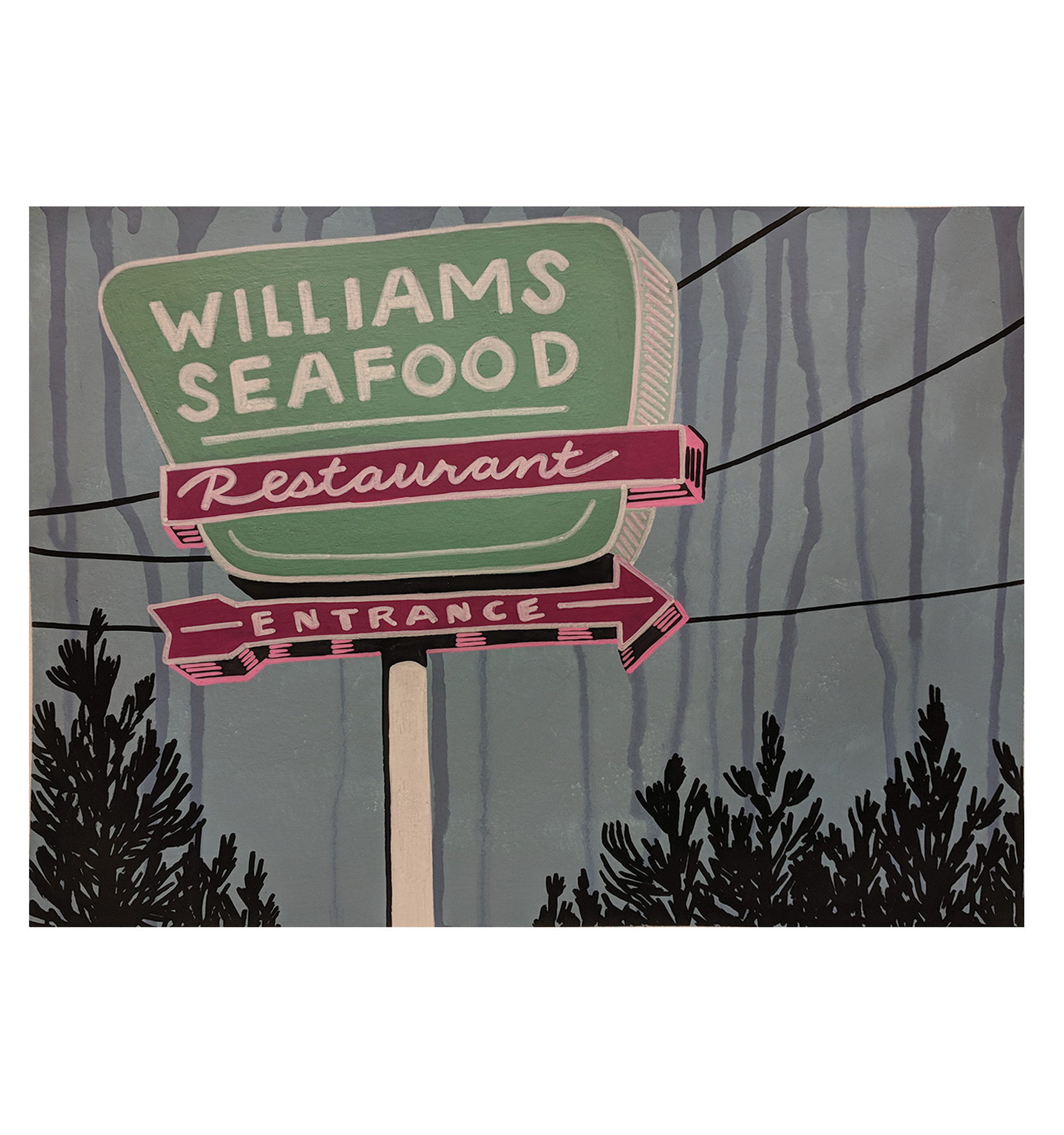 Honor Bowman Hall Williams Seafood, Acrylic and Paint Pen on paper, 9x12 inches