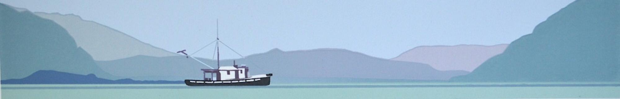 Donna Catotti Aspen Shadows, serigraph, image 2 x 12 inches