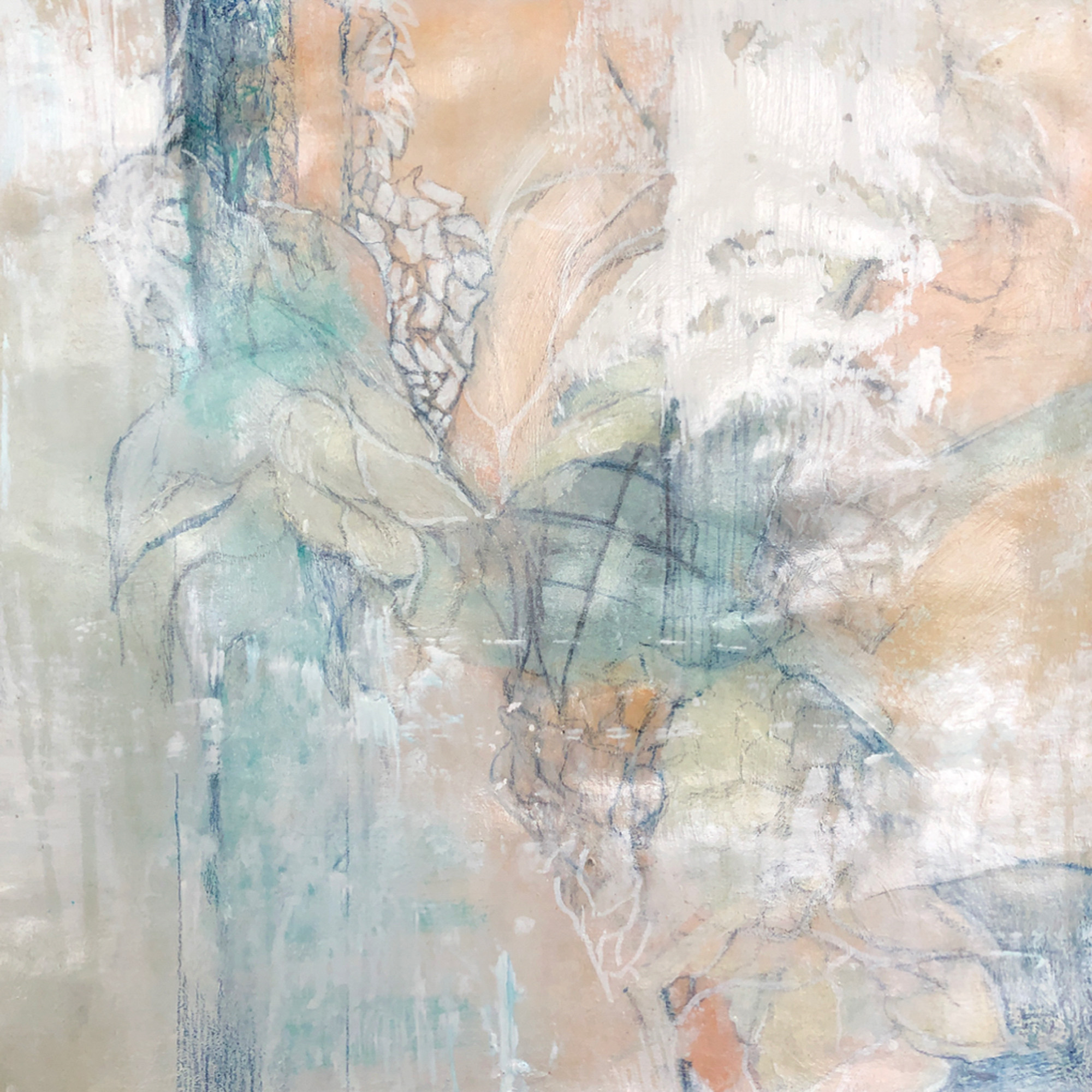 Debbie Ezell Coalesce, Mixed Media on Paper,  18X18 inches