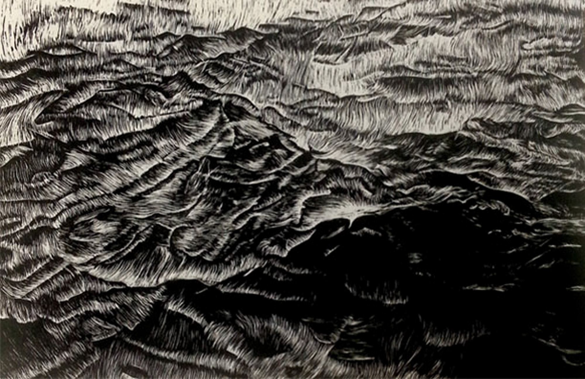 Cathleen Ficht Shifting, Wood Engraving, 4 x 6 inches