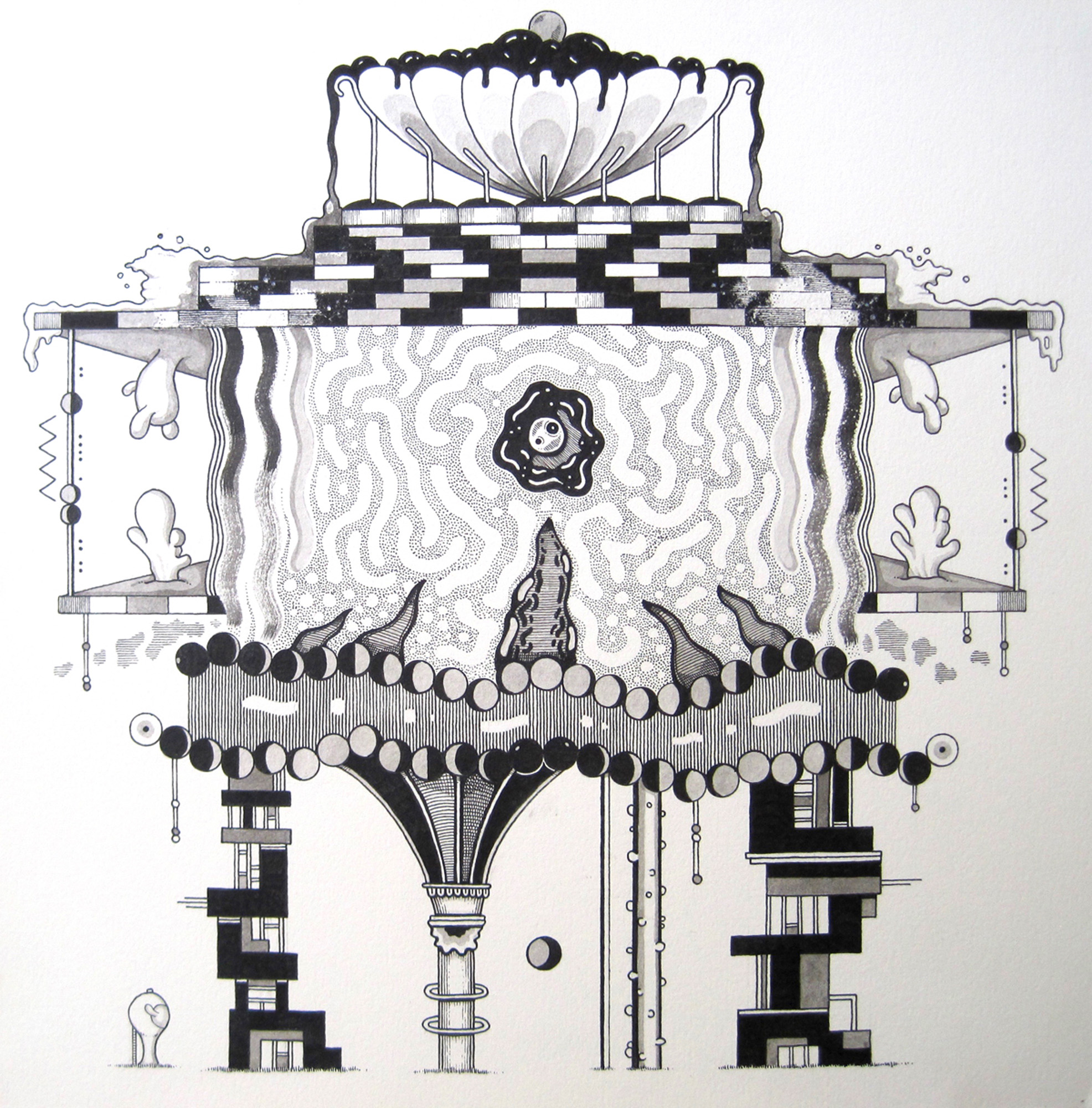 "Rylan Thompson Space Age Classicism, Ink on Paper, 10""x 10"""