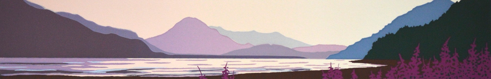 Donna Catotti Chilkat River Sunset, serigraph, image 2 x 12 inches