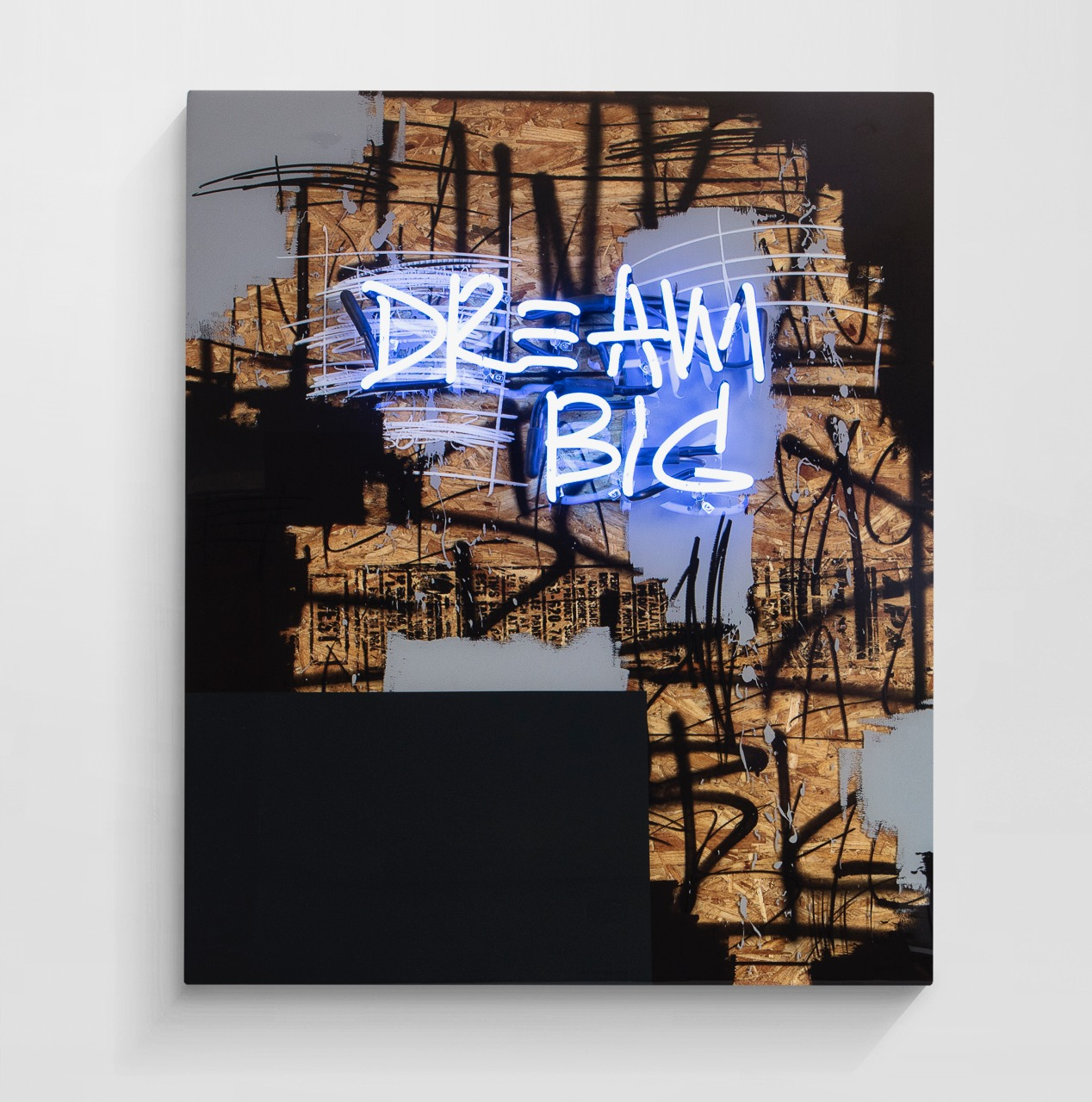 JEREMY BROWN Dream Big   mixed media between layers of resin + neon  40 x 48 inches JBR 160G