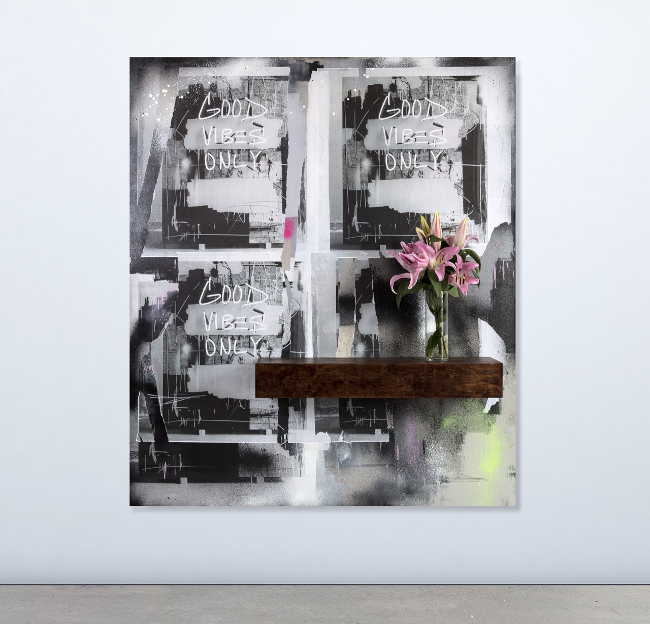 JEREMY BROWN No Bad Energy Please   mixed media on canvas  62 x 72 inches JBR 159G