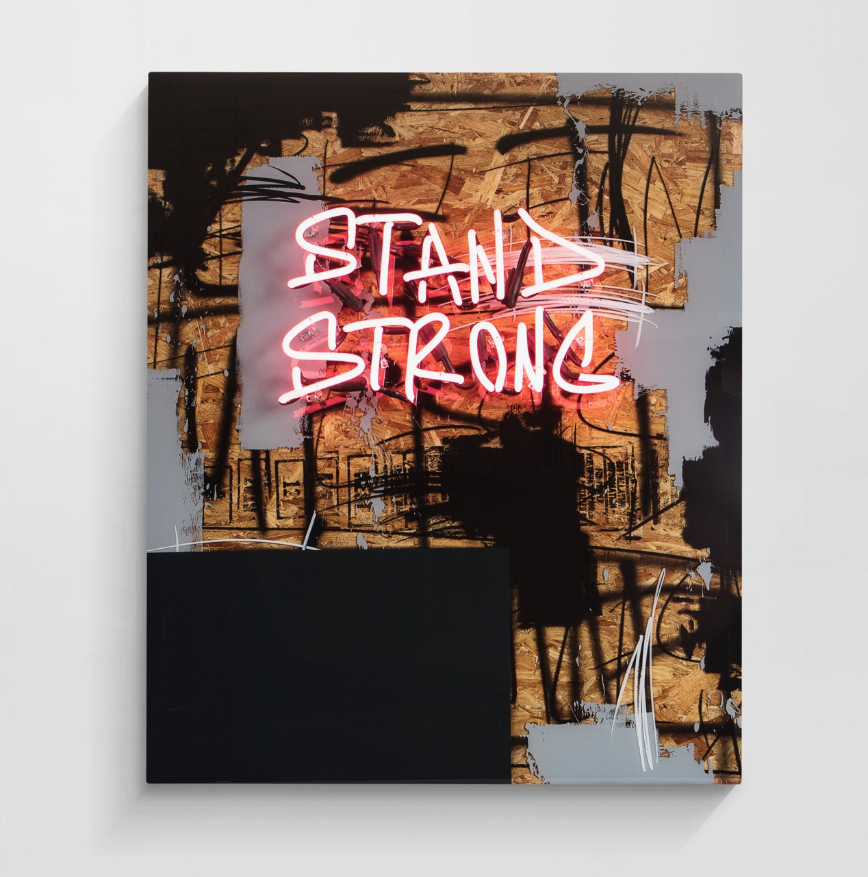 JEREMY BROWN  Stand Strong   mixed media between layers of resin + neon  40 x 48 inches JBR 161G