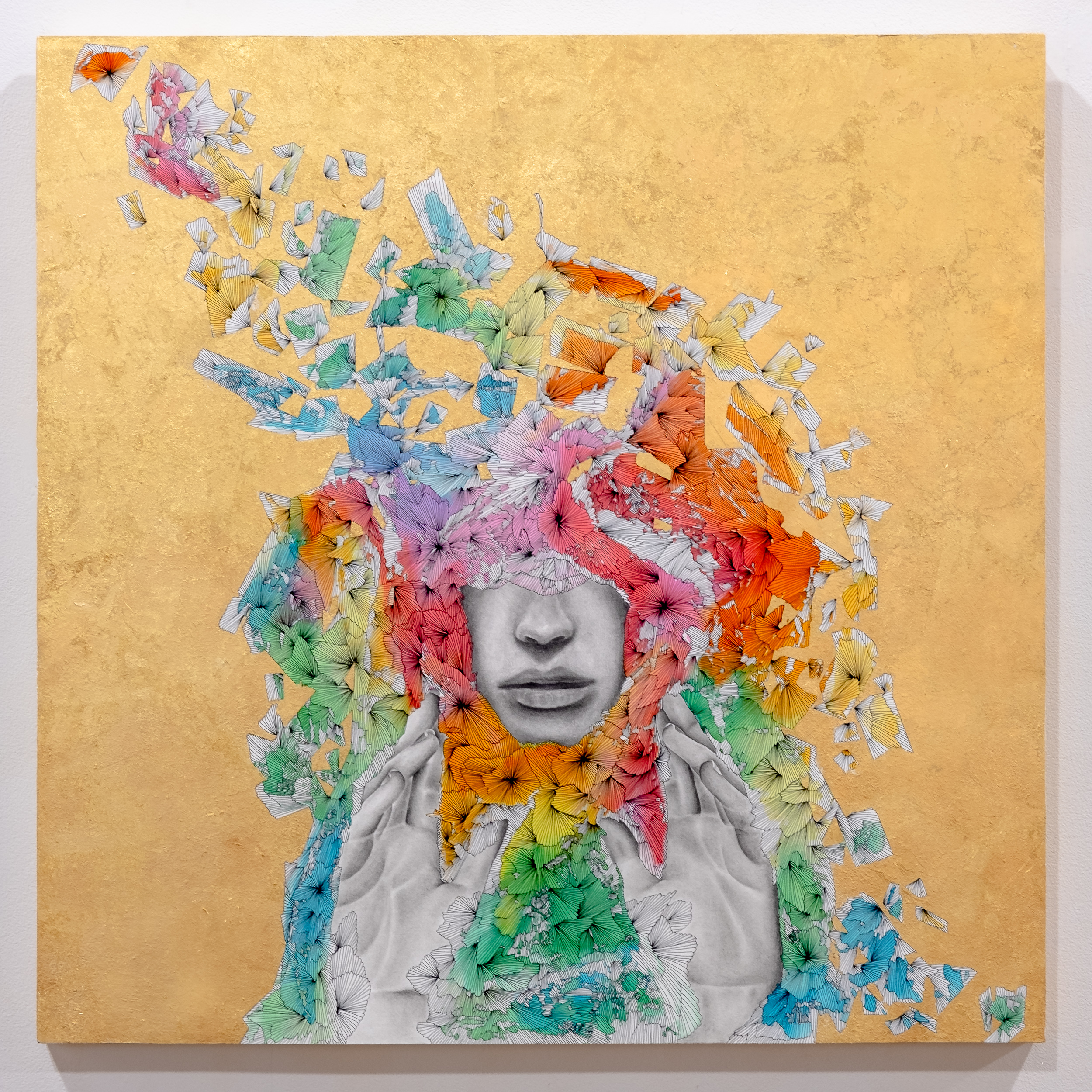 LELA BRUNET Sunscreen   mixed media on paper mounted to wood panel  36 x 36 inches LBR 075G