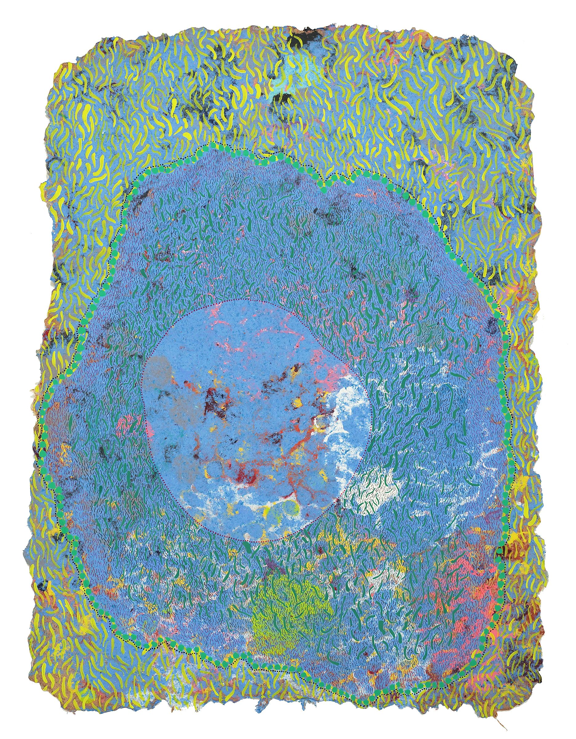 CHAD HAYWARD  Multitude  Acrylic, pen, and pigmented cotton pulp on handmade paper, 22 x 30 inches